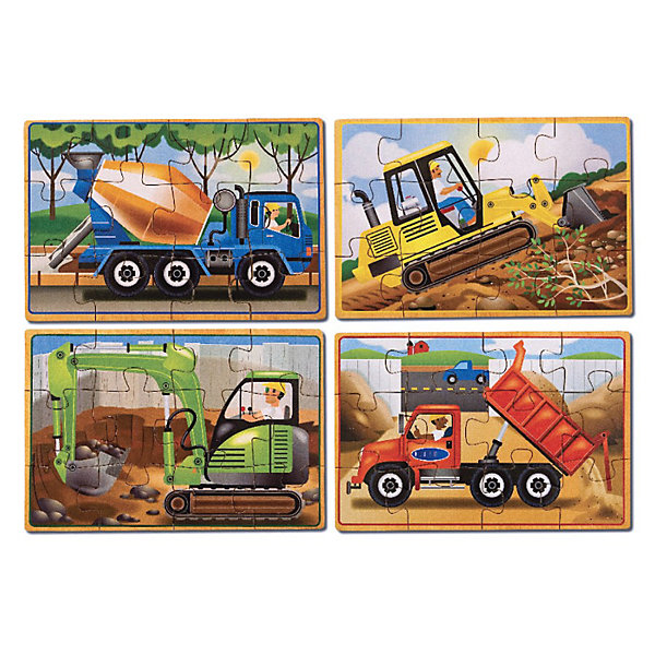 Деревянные пазлы Строительство, Melissa &amp; DougПазлы для малышей<br>Деревянные пазлы Строительство, Melissa&amp;Doug  - увлекательный набор пазлов для самых маленьких. С помощью входящих в набор деталей малыш сможет собрать четыре красочные картинки с изображениями бульдозера, самосвала, бетономешалки и экскаватора. В каждом пазле 12 элементов. Все детали качественно обработаны и окрашены безопасными красителями. Каждый пазл хранится в отдельном отсеке прочной деревянной коробки. Собирание пазла способствует развитию логического мышления, внимания, мелкой моторики и координации движений.<br><br>Дополнительная информация:<br><br>- В комплекте 4 пазла.<br>- Материал: дерево. <br>- Размер упаковки: 6 x 15 x 20 см.<br>- Вес: 0,395 кг.<br><br> Деревянные пазлы Строительство, Melissa&amp;Doug, можно купить в нашем интернет-магазине.<br>Ширина мм: 60; Глубина мм: 150; Высота мм: 200; Вес г: 450; Возраст от месяцев: 36; Возраст до месяцев: 72; Пол: Унисекс; Возраст: Детский; Количество деталей: 12; SKU: 2401080;