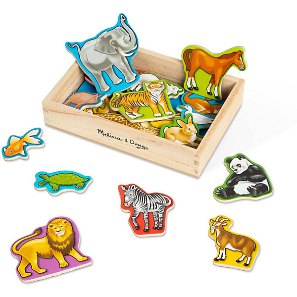Магнитная деревянная игра Животные, Melissa&amp;DougНастольные игры для всей семьи<br>Магнитная деревянная игра Животные, Melissa&amp;Doug - красочная развивающая игрушка, которая познакомит Вашего малыша с разными видами животных. В комплект входят 20 фигурок домашних и диких животных на магнитах. Можно предложить малышу игру - рассортировать всех животных на тех, кто помогает человеку, и тех, кто предпочитает вольное существование в дикой природе. Фигурки упакованы в удобный, компактный деревянный ящичек, их можно крепить на любую плоскую металлическую поверхность. Набор способствует развитию мелкой моторики рук и зрительного восприятия. <br><br>Дополнительная информация:<br><br>- В комплекте: 20 фигурок животных.<br>- Материал: дерево, магнит.<br>- Размер упаковки: 20 х 14 х 5 см. <br>- Вес: 0,4 кг.<br><br>Магнитную деревянную игру Животные, Melissa&amp;Doug, можно купить в нашем магазине.<br>Ширина мм: 40; Глубина мм: 140; Высота мм: 200; Вес г: 440; Возраст от месяцев: 36; Возраст до месяцев: 72; Пол: Унисекс; Возраст: Детский; SKU: 2401088;