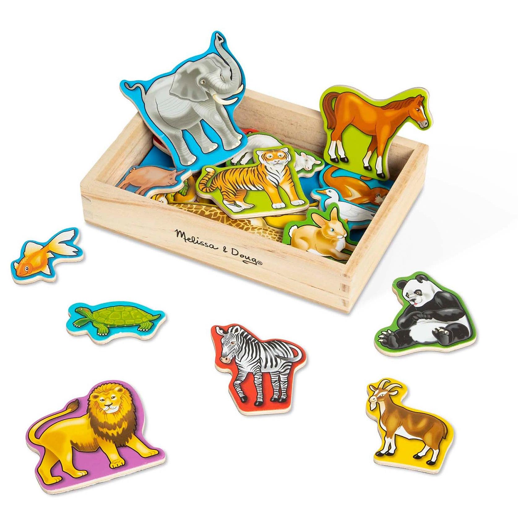 Магнитная деревянная игра Животные, Melissa&amp;DougРазвивающие игры<br>Магнитная деревянная игра Животные, Melissa&amp;Doug - красочная развивающая игрушка, которая познакомит Вашего малыша с разными видами животных. В комплект входят 20 фигурок домашних и диких животных на магнитах. Можно предложить малышу игру - рассортировать всех животных на тех, кто помогает человеку, и тех, кто предпочитает вольное существование в дикой природе. Фигурки упакованы в удобный, компактный деревянный ящичек, их можно крепить на любую плоскую металлическую поверхность. Набор способствует развитию мелкой моторики рук и зрительного восприятия. <br><br>Дополнительная информация:<br><br>- В комплекте: 20 фигурок животных.<br>- Материал: дерево, магнит.<br>- Размер упаковки: 20 х 14 х 5 см. <br>- Вес: 0,4 кг.<br><br>Магнитную деревянную игру Животные, Melissa&amp;Doug, можно купить в нашем магазине.<br><br>Ширина мм: 40<br>Глубина мм: 140<br>Высота мм: 200<br>Вес г: 440<br>Возраст от месяцев: 36<br>Возраст до месяцев: 72<br>Пол: Унисекс<br>Возраст: Детский<br>SKU: 2401088
