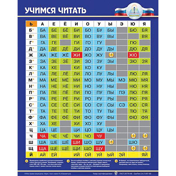 Электронный звуковой плакат Учимся читатьЭлектронные плакаты<br>Электронный звуковой плакат Учимся читать, Знаток<br><br>Характеристики:<br><br>• поможет ребенку научиться читать и составлять слова<br>• расскажет правила русского языка<br>• сенсорные кнопки<br>• регулируемая громкость<br>• размер плаката: 49х75 см<br>• размер упаковки: 50х45х2,8 см<br>• вес: 480 грамм<br>• батарейки: ААА - 3 шт.(входят в комплект)<br><br>Со звуковым плакатом Знаток ребенок с радостью научится читать. Гласные и согласные звуки разделены. Плакат воспроизводит именно звуки, а не буквы, что особенно важно при обучении чтению. Есть несколько кнопок для воспроизведения различных слогов. Малыш сможет составить слова из слогов. Кнопка ! познакомит ребенка с правилами русского языка, которые обязательно пригодятся ему в школе. Плакат имеет сенсорные кнопки, регулируемую громкость и влагозащитную поверхность. С этим плакатом ребенок с радостью откроет для себя увлекательный мир чтения!<br><br>Электронный звуковой плакат Учимся читать, Знаток вы можете купить в нашем интернет-магазине.<br><br>Ширина мм: 230<br>Глубина мм: 40<br>Высота мм: 485<br>Вес г: 500<br>Возраст от месяцев: 36<br>Возраст до месяцев: 84<br>Пол: Унисекс<br>Возраст: Детский<br>SKU: 2403203