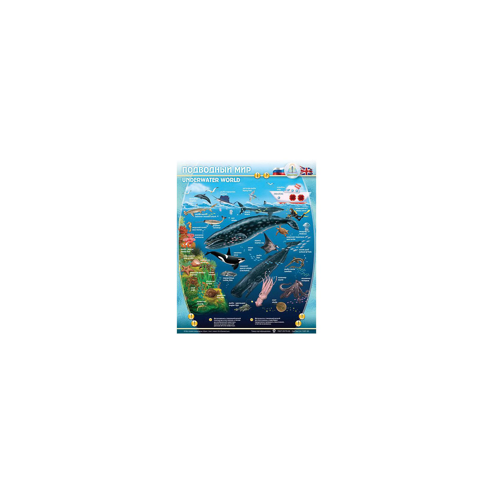 Электронный звуковой плакат Подводный МирЭлектронный звуковой плакат Подводный Мир, Знаток<br><br>Характеристики:<br><br>• расскажет малышу о жителях подводного мира<br>• 2 режима игры: пояснение и экзамен<br>• сенсорные кнопки<br>• регулируемая громкость<br>• материал: пластик, ПВХ<br>• размер плаката: 47х58,5 см<br>• размер упаковки: 50х24х4 см<br>• вес: 415 грамм<br>• батарейки: ААА - 3 шт. (входят в комплект)<br><br>Звуковой плакат Знаток - настоящий помощник в изучении подводного мира. Он расскажет о жителях подводного мира и звуках, которые они издают. После обучения малыш сможет проверить свои знания с помощью кнопки Экзамен. Плакат оснащен сенсорными кнопками, влагозащитной поверхностью и регулируемой громкостью. С этим плакатом ваш малыш с радостью получит новые знания!<br><br>Электронный звуковой плакат Подводный Мир, Знаток вы можете купить в нашем интернет-магазине.<br><br>Ширина мм: 230<br>Глубина мм: 40<br>Высота мм: 485<br>Вес г: 500<br>Возраст от месяцев: 36<br>Возраст до месяцев: 84<br>Пол: Унисекс<br>Возраст: Детский<br>SKU: 2403205