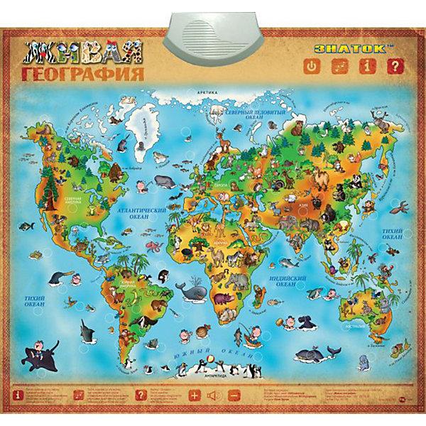 Электронный звуковой плакат Живая ГеографияЭлектронные плакаты<br>Электронный звуковой плакат Живая География, Знаток<br><br>Характеристики:<br><br>• познакомит ребенка с картой мира и животными<br>• 3 режима игры: звуки, пояснение, экзамен<br>• сенсорные кнопки<br>• регулируемая громкость<br>• влагозащитная поверхность<br>• материал: пластик, ПВХ<br>• размер плаката: 53х58,5 см<br>• размер упаковки: 23х60х4 см<br>• вес: 465 грамм<br>• батарейки: ААА - 3 шт.<br><br>Электронный плакат Живая география познакомит вашего малыша с картой мира и животными. Яркие и четкие рисунки понятны каждому ребенку. Игра может проходить в трех режимах. Ребенок узнает названия и звуки, прослушает рассказ о географических объектах и животных, а затем проверит свои знания с помощью экзамена. Кнопки плаката сенсорные, громкость регулируется. Плакат имеет поверхность, защищающую от влаги. С таким плакатом ребенок с радостью познакомится с основами географии!<br><br>Электронный звуковой плакат Живая География, Знаток вы можете купить в нашем интернет-магазине.<br>Ширина мм: 230; Глубина мм: 40; Высота мм: 485; Вес г: 500; Возраст от месяцев: 36; Возраст до месяцев: 84; Пол: Унисекс; Возраст: Детский; SKU: 2403206;
