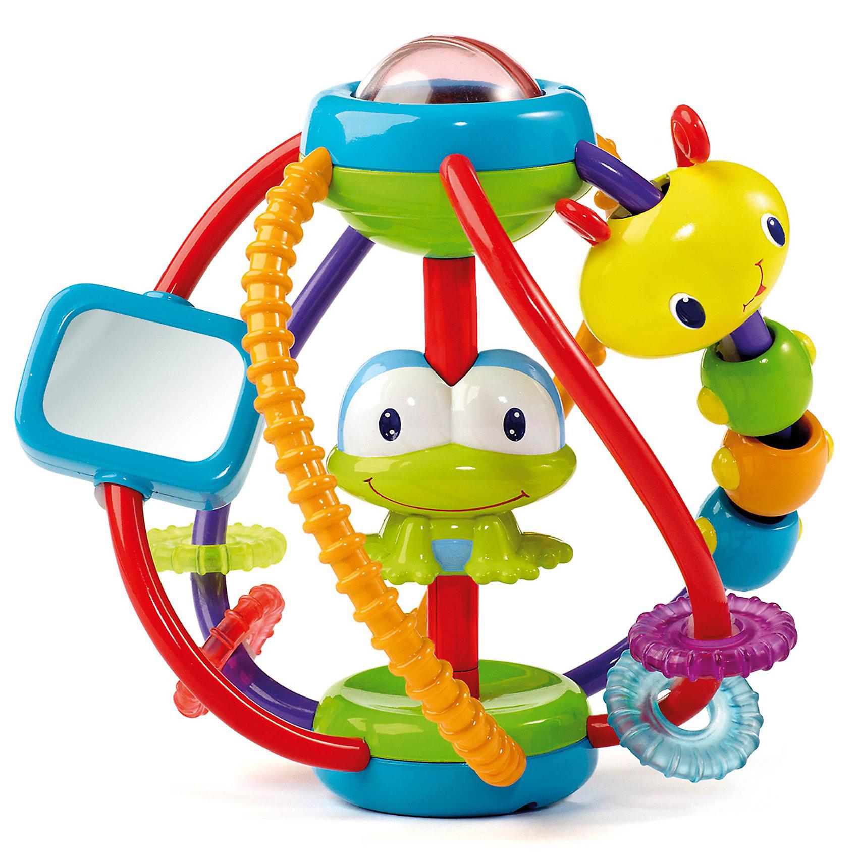 Развивающая игрушка Логический шар Bright StartsРазвивающий логический шар для самых маленьких от Bright Starts (Брайт Стартс). <br><br>Благодаря необычному и функциональному дизайну этот логический шар помогает малышам развить воображение, внимание, мелкую моторику рук и координацию движений.   <br><br>Всего 6 ручек для хватания, на которых расположены интересные развлечения:<br>- на одной из ручек есть вращающаяся гусеница, которая состоит из четырех подвижных шариков<br>- лягушка-погремушка<br>- на двух ручках есть по два рельефных колесика<br>- крутящееся зеркало<br>- сверху кнопка-пищалка, снизу шар-погремушка<br><br>Малыш будет увлечен игрой с необычной игрушкой Логический шар!<br><br>Дополнительная информация:<br><br>- удобная ручка для хватания<br>- Размер шара: 14х14х16см<br>- Размер упаковки: 17х17х20 см<br>- Материал: высококачественный пластик, текстиль<br><br>Развивающая игрушка Логический шар Bright Starts (Брайт Стартс) можно купить в нашем интернет-магазине.<br><br>Ширина мм: 170<br>Глубина мм: 200<br>Высота мм: 170<br>Вес г: 408<br>Возраст от месяцев: 6<br>Возраст до месяцев: 24<br>Пол: Унисекс<br>Возраст: Детский<br>SKU: 2403304