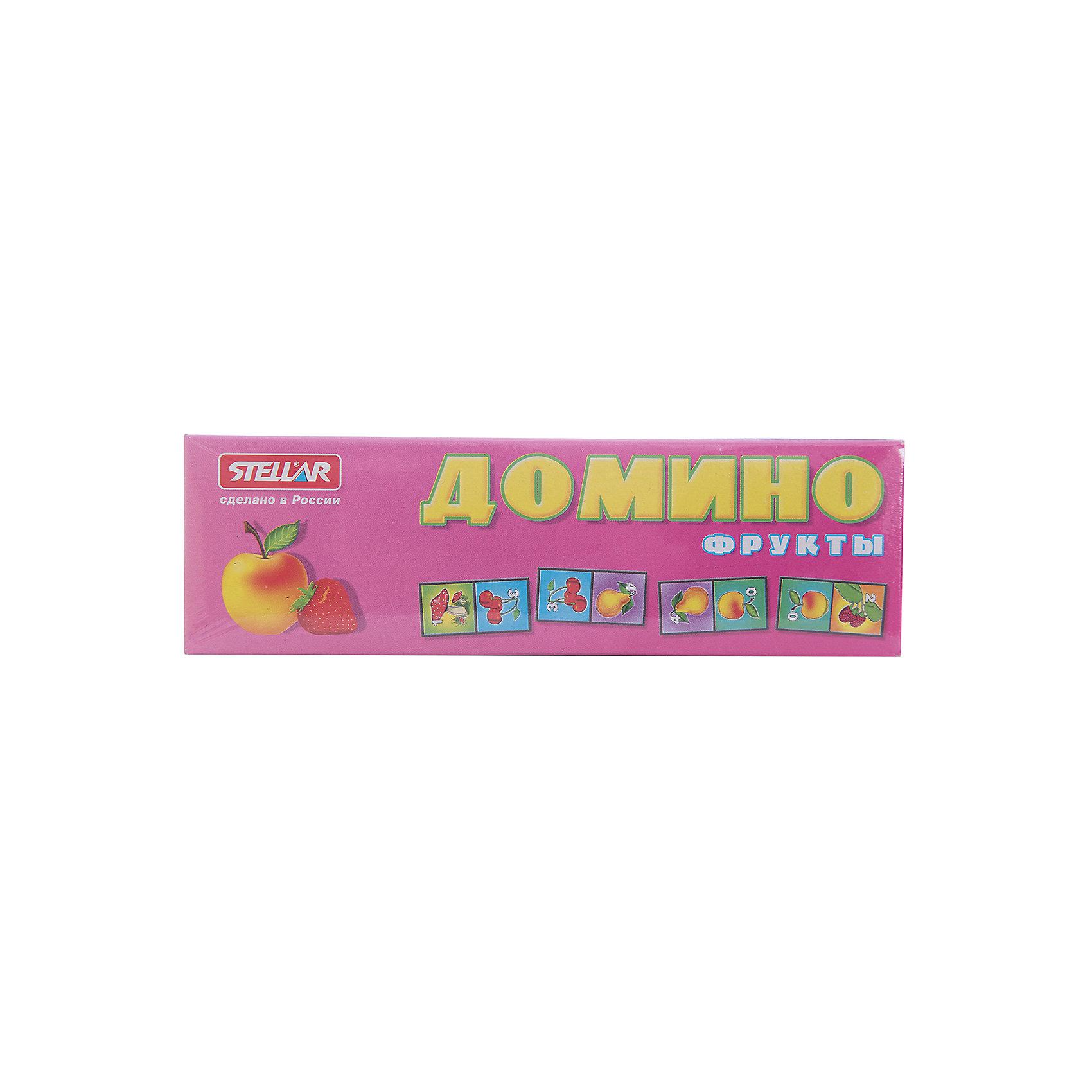 Домино 1 Фрукты, СтелларДомино<br>Домино 1 Фрукты от Стеллар (Stellar) — детский аналог традиционной игры Домино. Игра включает комплект пластиковых костяшек домино с изображением ягод и фруктов (клубника, вишня, виноград, яблоко, груша, малина, банан) и цифр от 0 до 6.<br><br>При игре в Домино развивается логическое мышление и ассоциативная память, тренируется внимание и сосредоточенность, совершенствуется умение оценивать ситуацию, умение классифицировать предметы, сравнивать и находить соответствия.<br><br>Домино «Фрукты» - прекрасный вариант для проведения семейного досуга!<br><br>Дополнительная информация:<br><br>- В комплекте: 28 фишек<br>- Материал: полистирол, бумага<br>- Размер упаковки: 180 х 20 х 55 мм<br>- Вес: 77 г.<br><br>Домино 1 Фрукты от Стеллар (Stellar) можно купить в нашем интернет-магазине.<br><br>Ширина мм: 180<br>Глубина мм: 20<br>Высота мм: 55<br>Вес г: 77<br>Возраст от месяцев: 36<br>Возраст до месяцев: 1188<br>Пол: Унисекс<br>Возраст: Детский<br>SKU: 2407029