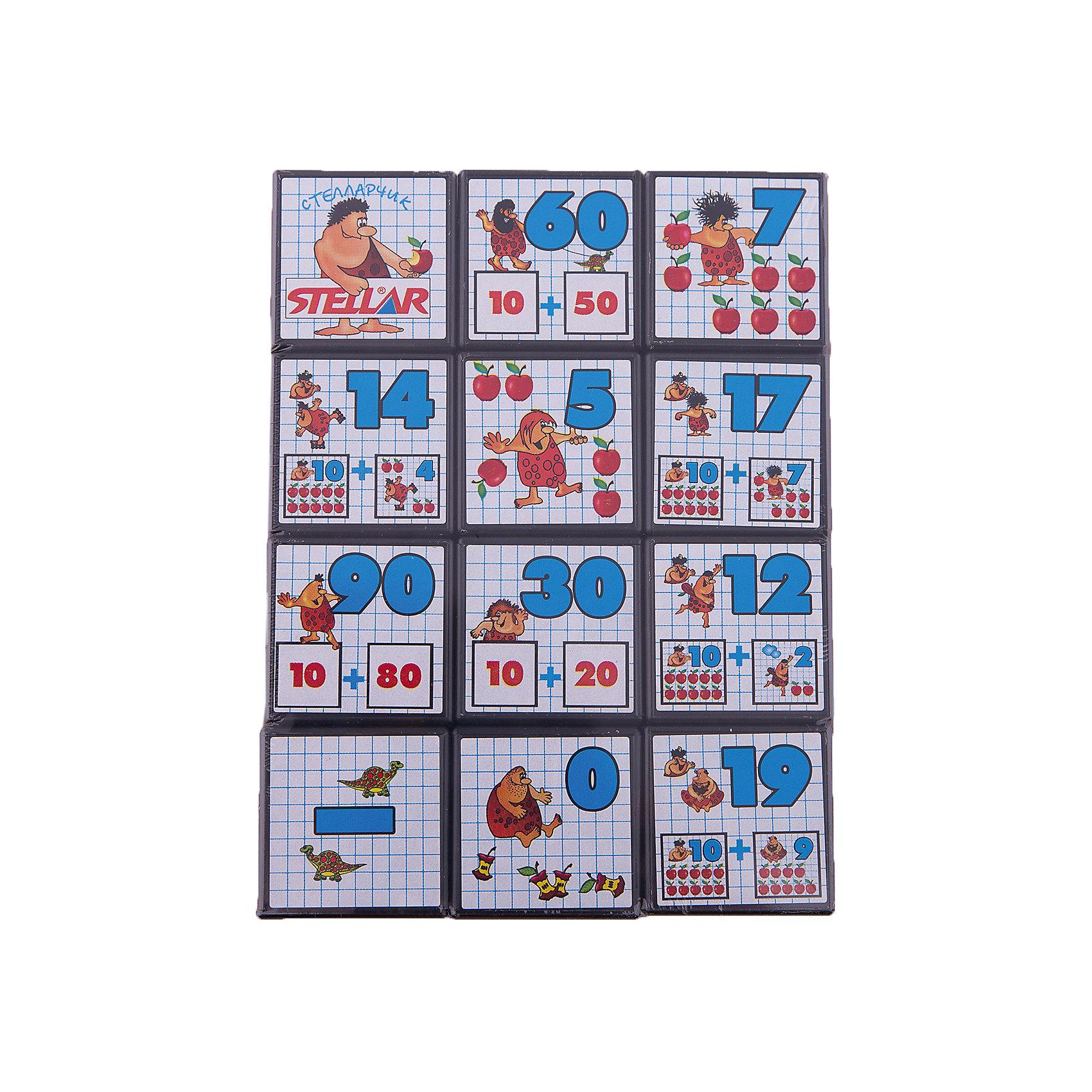 Кубики Математика с рисунками, СтелларРазвивающие игры<br>Кубики Математика с рисунками от Стеллар (Stellar) научат ребенка считать до 100. На каждой стороне кубика изображена цифра и  предметы, количество которых соответствует этой цифре (например, цифра 5 и пять штук яблок).<br><br>Игра с такими кубиками — это замечательная тренировка внимания и памяти.<br><br>Порадуйте малыша интересным подарком!<br><br>Дополнительная информация:<br><br>- В комплекте:12 кубиков<br>- Материал: пластмасса, бумага<br>- Размер кубика: 40 х 40 х 40 мм<br>- Размер упаковки: 160 х 120 х 40 мм<br>- Вес: 200 г.<br><br>Кубики Математика с рисунками от Стеллар (Stellar) можно купить в нашем интернет-магазине.<br><br>Ширина мм: 160<br>Глубина мм: 120<br>Высота мм: 40<br>Вес г: 206<br>Возраст от месяцев: 36<br>Возраст до месяцев: 60<br>Пол: Унисекс<br>Возраст: Детский<br>SKU: 2407061