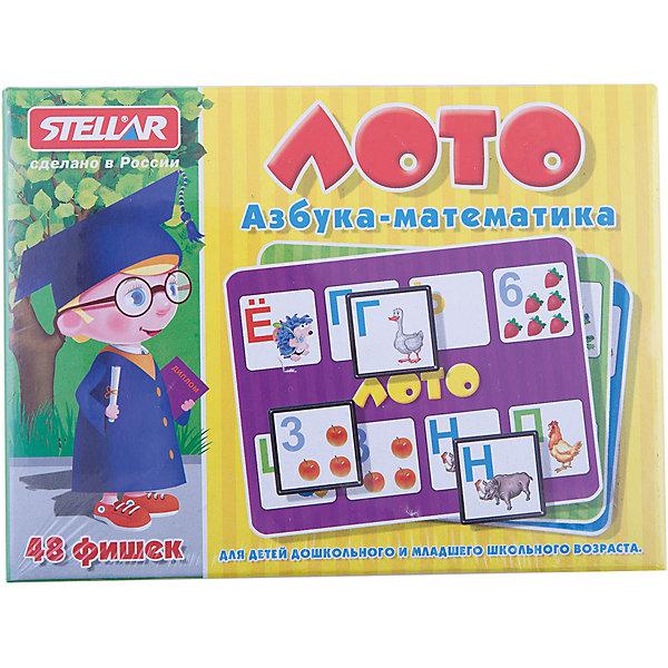 Лото Азбука / Математика, СтелларЛото<br>Классическая русская игра Лото Азбука / Математика от Стеллар (Stellar). В набор входят 6 карточек, 48 фишек и мешочек. Фишки складываются в мешочек, и ведущий, не глядя, достает фишки по очереди из мешка. Фишками-фигурками необходимо закрыть соответствующие поля на карточке. Побеждает тот, кто первым заполнил всю карточку.<br><br>На карточках и фишках изображены буквы (азбука),  цифры и математические знаки. Рядом с каждой буквой изображено слово, которое с этой буквы начинается. При написании согласные и гласные буквы различаются цветом. На фишках с цифрами нарисовано соответствующее количество предметов (фрукты и ягоды), а так же знаки сложение, вычитание, равно, деление и умножение.  <br><br>Лото Стеллар Азбука / Математика прекрасно тренирует память, внимание и мелкую моторику рук.<br><br>Игра в Лото — прекрасный вариант проведения семейного досуга.<br><br>Дополнительная информация:<br><br>- В комплекте: 6 карточек, 48 фишек, мешочек<br>- Материал: пластмасса, картон<br>- Размер упаковки: 165 х 125 х 40 мм<br>- Вес: 230 г.<br><br>Лото Азбука / Математика от Стеллар (Stellar) можно купить в нашем интернет-магазине.<br><br>Ширина мм: 165<br>Глубина мм: 125<br>Высота мм: 40<br>Вес г: 230<br>Возраст от месяцев: 36<br>Возраст до месяцев: 1188<br>Пол: Унисекс<br>Возраст: Детский<br>SKU: 2407069