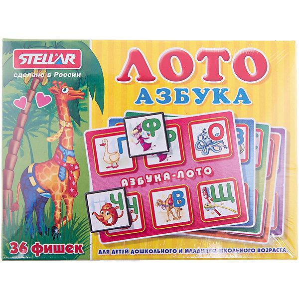 Лото Азбука, СтелларЛото<br>Классическая русская игра. В набор входят 6 карточек, 36 фишек и мешочек.<br><br>Ширина мм: 165<br>Глубина мм: 125<br>Высота мм: 40<br>Вес г: 200<br>Возраст от месяцев: 36<br>Возраст до месяцев: 1188<br>Пол: Унисекс<br>Возраст: Детский<br>SKU: 2407070