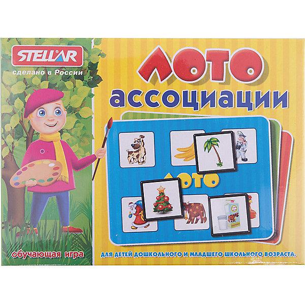 Лото Ассоциации, СтелларЛото<br>Классическая русская игра Лото Ассоциации от Стеллар (Stellar). В набор входят 4 карточки, 24 фишки и мешочек. Цель игроков - заполнить игровые поля фишками с соответствующими изображениями, основываясь на ассоциативных связях между предметами или объектами.  <br>В игре могут принимать участие до 4 человек. Фишки складываются в мешочек, а игрокам раздаются карточки. Ведущий достает фишки из мешка, а игроки накрывают ими ассоциативные картинки.  Лото не совсем обычное, картинки на карточке и на фишке разные. Например, пальма и бананы, мешок с подарками и дед Мороз, пакет молока и корова. В игре ребенок учится находить ассоциативные связи между рисунком на фишке и картинкой на карточке. Выигрывает тот, кто первым накроет фишками все картинки.<br><br>Игра способствует развитию внимания, зрительной памяти, координации движений и мелкой моторики рук.<br><br>Игра в Лото «Ассоциации» - это прекрасный вариант проведения семейного досуга.<br><br>Дополнительная информация:<br><br>- В комплекте: 4 карточек, 24 фишек, мешочек<br>- Материал: полистирол, бумага<br>- Картонные поля рассчитаны на 6 фишек<br>- Размер поля: 110 х 160 мм<br>- Размер одной фишки: 40 х 40 мм<br>- Размер упаковки: 165 х 125 х 40 мм<br>- Вес: 154 г.<br><br>Лото Ассоциации от Стеллар (Stellar) можно купить в нашем интернет-магазине.<br>Ширина мм: 165; Глубина мм: 125; Высота мм: 40; Вес г: 154; Возраст от месяцев: 36; Возраст до месяцев: 1188; Пол: Унисекс; Возраст: Детский; SKU: 2407071;