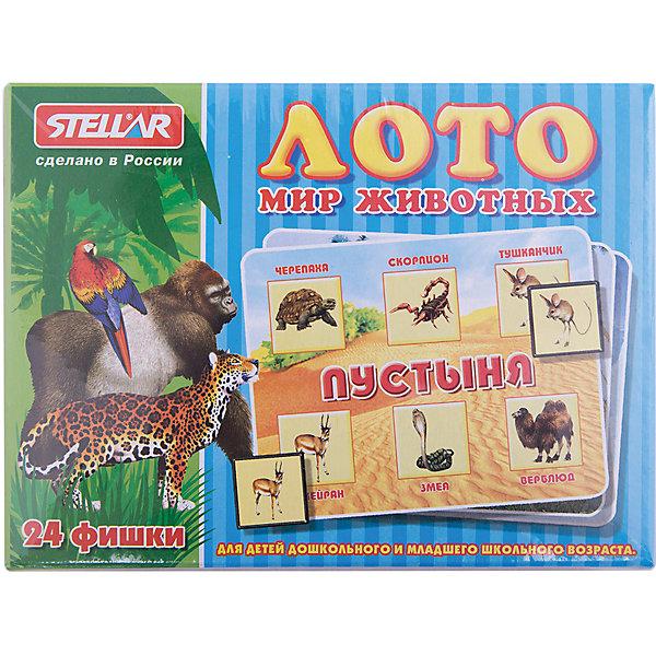 Лото Мир животных, СтелларЛото<br>Классическая русская игра Лото Мир животных Стеллар (Stellar). В набор входят 4 карточки, 24 фишки и мешочек.  Игра строится по принципу обычного лото, но, детское лото с картинками на тему животных и среду их обитания. Это позволит малышу значительно расширить свой кругозор.<br><br>Играя в лото, малыш развивает память и скорость реакции, тренирует внимание, усидчивость и сосредоточенность.<br><br>Порадуйте малыша прекрасным подарком!<br><br>Дополнительная информация:<br><br>- В комплекте: 4 карточки, 24 фишки, мешочек.<br>- Материал: пластмасса, картон<br>- Размер упаковки: 165 х 125 х 40 мм<br>- Вес: 150 г.<br><br>Лото Мир животных Стеллар (Stellar) можно купить в нашем интернет-магазине.<br><br>Ширина мм: 165<br>Глубина мм: 125<br>Высота мм: 40<br>Вес г: 154<br>Возраст от месяцев: 36<br>Возраст до месяцев: 1188<br>Пол: Унисекс<br>Возраст: Детский<br>SKU: 2407075