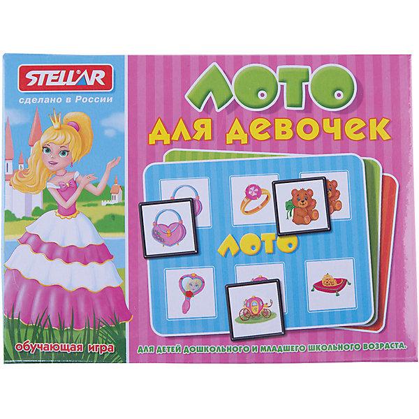 Лото для девочек, СтелларЛото<br>Лото для девочек от Стеллар (Stellar) — отличная игра для юных принцесс! <br><br>В набор входят 4 карточки, 24 фишки с рисунками. мешочек. Фишки складываются в мешочек, и ведущий, не глядя, достает фишки по очереди из мешка. Фишками необходимо закрыть соответствующие поля на карточке. Побеждает тот, кто первым заполнил всю карточку.<br>Картинки специально подобраны с учётом интересов  маленьких принцесс: принцы, игрушки, украшения и прочие аксессуары для девочек.<br><br>Лото развивает у детей внимание, память, координацию движения и мелкую моторику рук.<br><br>Игра в лото станет прекрасным вариантом проведения семейного досуга!<br><br>Дополнительная информация:<br><br>- В комплекте: 4 карточки, 24 фишки с рисунками. мешочек<br>- Материал:  полистирол, бумага<br>- Размер фишки: 40 х 40 мм<br>- Размер карточки: 160 х 120 мм<br>- Размер упаковки: 165 х 125 х 40 мм<br>- Вес: 155 г.<br><br>Лото для девочек от Стеллар (Stellar) можно купить в нашем интернет-магазине.<br>Ширина мм: 165; Глубина мм: 125; Высота мм: 40; Вес г: 154; Возраст от месяцев: 36; Возраст до месяцев: 1188; Пол: Женский; Возраст: Детский; SKU: 2407078;