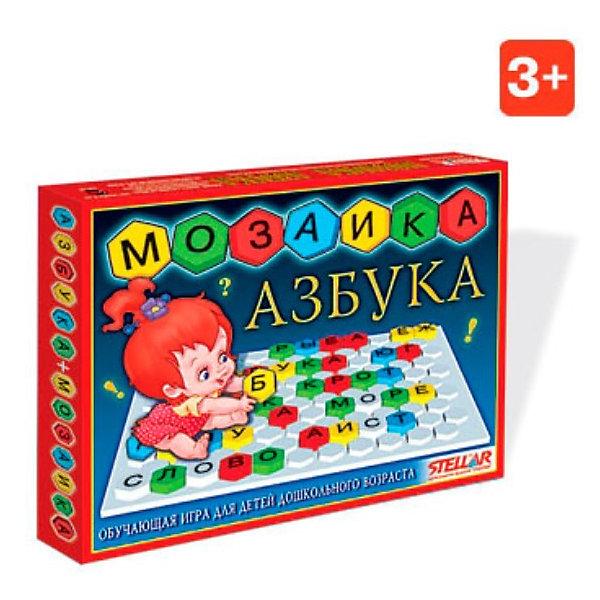 Мозаика Азбука, СтелларКасса букв<br>Мозаика Азбука, Стеллар (Stellar). Набор из 110 фишек шестигранной формы, которые можно устанавливать на игровое поле. Элементы крупные, ярких цветов. На каждой фишке написана буква русского алфавита. Буквы в наборе повторяются по 2-3 раза.<br>Играя с мозаикой, ребенок выучит буквы и научится читать. Мозаика «Азбука» способствует развитию памяти, мышления, речи, логики, умения концентрировать внимание. <br><br>Мозаика «Азбука» замечательно подойдет для первого знакомства с русским алфавитом.<br><br>Дополнительная информация:<br><br>- В комплекте: 110 элементов<br>- Материал: полипропилен<br>- Ширина фишки: 30 мм<br>- Высота фишки: 10 мм<br>- Размер поля: 240 х 310 мм<br>- Размер упаковки: 290 х 205 х 30 мм<br>- Вес: 390 г.<br><br>Мозаику Азбука, Стеллар (Stellar) можно купить в нашем интернет-магазине.<br>Ширина мм: 290; Глубина мм: 205; Высота мм: 30; Вес г: 391; Возраст от месяцев: 36; Возраст до месяцев: 1188; Пол: Унисекс; Возраст: Детский; SKU: 2407080;