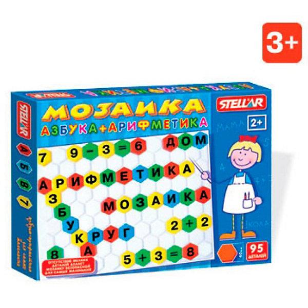 Мозаика Азбука-арифметика, СтелларМозаика<br>Мозаика Азбука-арифметика, Стеллар (Stellar) — пособие для знакомства с буквами и цифрами. В набор входят 95 разноцветных фишек-шестигранников с буквами, цифрами и математическими знаками и поле-планшет для складывание мозаики. Фишки мозаики крупные, шириной около 4 см, при этом фишки не имеют штырьков-ножек (т.е. острых деталей) и это делает мозаику безопасной для самых маленьких. Фишки надеваются на выпуклые части планшета. Цвета фишек зеленый, желтый, красный, синий.<br><br>Мозаика «Азбука-Арифметика» способствует развитию памяти, мышления, речи, логики, умения концентрировать внимание. <br><br>Мозаика Азбука-Арифметика станет прекрасным подарком малышу!<br><br>Дополнительная информация:<br><br>- В комплекте: 95 фишек <br>- Материал: пластмасса<br>- Размер фишки 40 мм.<br>- Размер поля: 470 х350 мм<br>- Размер упаковки: 375 х 495 х 40 мм<br>- Вес: 690 г.<br><br>Мозаику Азбука-арифметика, Стеллар (Stellar) можно купить в нашем интернет-магазине.<br>Ширина мм: 375; Глубина мм: 495; Высота мм: 40; Вес г: 690; Возраст от месяцев: 36; Возраст до месяцев: 1188; Пол: Унисекс; Возраст: Детский; SKU: 2407082;