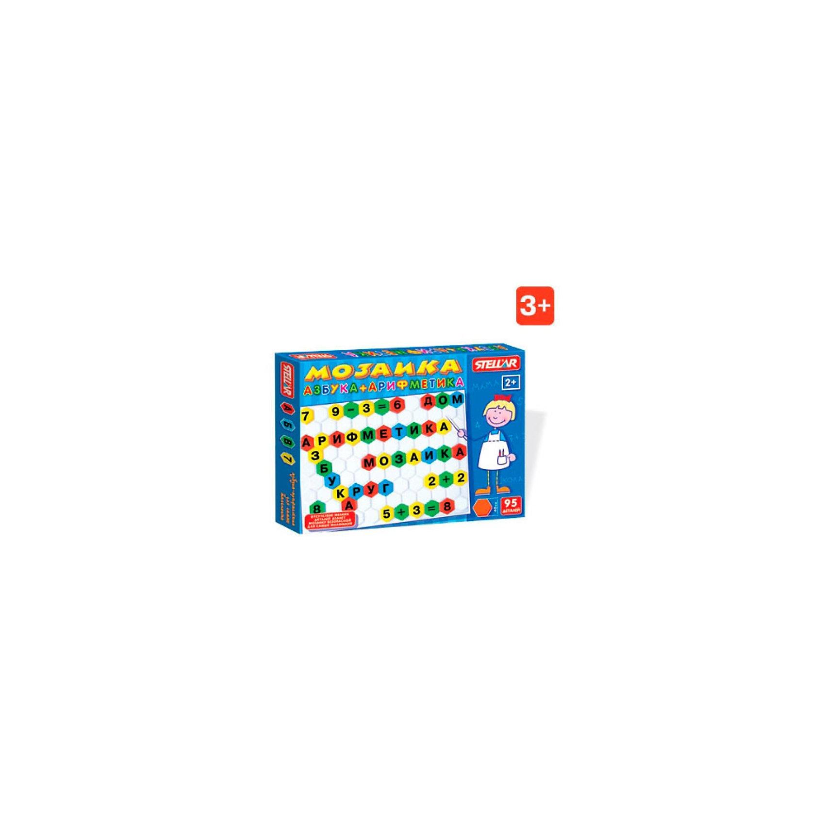 Мозаика Азбука-арифметика, СтелларМозаика Азбука-арифметика, Стеллар (Stellar) — пособие для знакомства с буквами и цифрами. В набор входят 95 разноцветных фишек-шестигранников с буквами, цифрами и математическими знаками и поле-планшет для складывание мозаики. Фишки мозаики крупные, шириной около 4 см, при этом фишки не имеют штырьков-ножек (т.е. острых деталей) и это делает мозаику безопасной для самых маленьких. Фишки надеваются на выпуклые части планшета. Цвета фишек зеленый, желтый, красный, синий.<br><br>Мозаика «Азбука-Арифметика» способствует развитию памяти, мышления, речи, логики, умения концентрировать внимание. <br><br>Мозаика Азбука-Арифметика станет прекрасным подарком малышу!<br><br>Дополнительная информация:<br><br>- В комплекте: 95 фишек <br>- Материал: пластмасса<br>- Размер фишки 40 мм.<br>- Размер поля: 470 х350 мм<br>- Размер упаковки: 375 х 495 х 40 мм<br>- Вес: 690 г.<br><br>Мозаику Азбука-арифметика, Стеллар (Stellar) можно купить в нашем интернет-магазине.<br><br>Ширина мм: 375<br>Глубина мм: 495<br>Высота мм: 40<br>Вес г: 690<br>Возраст от месяцев: 36<br>Возраст до месяцев: 1188<br>Пол: Унисекс<br>Возраст: Детский<br>SKU: 2407082