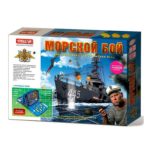 Настольная игра  Морской бой, СтелларХиты продаж<br>Настольная игра 21 (Морской бой) от Стеллар (Stellar) — классическая стратегическая игра, которая развивает логическое мышление, обучает тактике и стратегии.<br>Можно, конечно, разместить игровое поле на бумаге в клеточку, но такой настоящий пульт, как на военном корабле,  и такие настоящие кораблики не оставят равнодушным даже взрослых. В комплект входят две эскадры, по 10 кораблей в каждой, два игровых экрана-чемоданчика, белые и красные фишки, чтобы отмечать выстрелы. <br><br>Игра поможет вам в увлекательном сражении развить логическое мышление и освоить тактические навыки ведения боя. <br><br>Настольная игра Морской бой от Стеллар позволит увлекательно провести время всей семьей.<br><br>Дополнительная информация:<br><br>- В комплекте: игровое поле оснащенное экраном-2шт, эскадра из 10 кораблей - 2 комплекта, 80 красных фишек(для обозначения попадания), 320 белых фишек (для обозначения промаха).<br>- Материал: полистирол<br>- Размер упаковки: 220 х 140 х 45 мм<br>- Вес: 830 г.<br><br>Настольную игру 21 (Морской бой) от Стеллар (Stellar) можно купить в нашем интернет-магазине.<br><br>Ширина мм: 220<br>Глубина мм: 140<br>Высота мм: 45<br>Вес г: 830<br>Возраст от месяцев: 36<br>Возраст до месяцев: 1188<br>Пол: Мужской<br>Возраст: Детский<br>SKU: 2407088