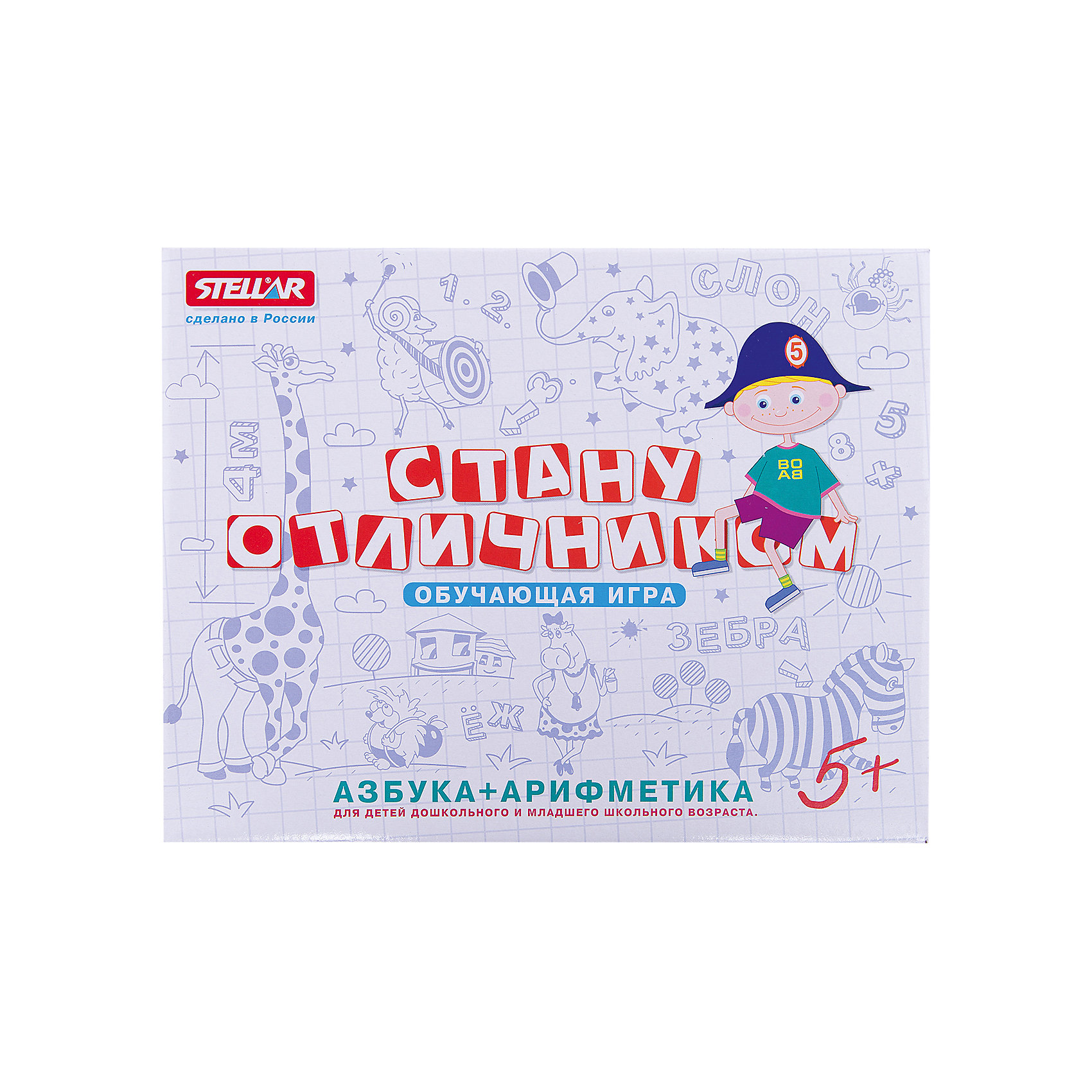 Настольная игра Стану отличником: Азбука+Арифметика, СтелларОбучающая игра для обучения алфавиту от Стеллар. <br><br>Эта интеллектуальная игра помогает получить необходимые знания в игровой манере. С помощью различных игр можно подготовить ребёнка к школе. <br><br>Дополнительная информация:<br><br>- В комплекте фишки с нанесенными буквами и цифрами и 33 карточки с буквой, рисунком и подписью к рисунку. <br>- Длина коробки 29 см.<br><br>Ширина мм: 290<br>Глубина мм: 230<br>Высота мм: 53<br>Вес г: 450<br>Возраст от месяцев: 36<br>Возраст до месяцев: 1188<br>Пол: Унисекс<br>Возраст: Детский<br>SKU: 2407089