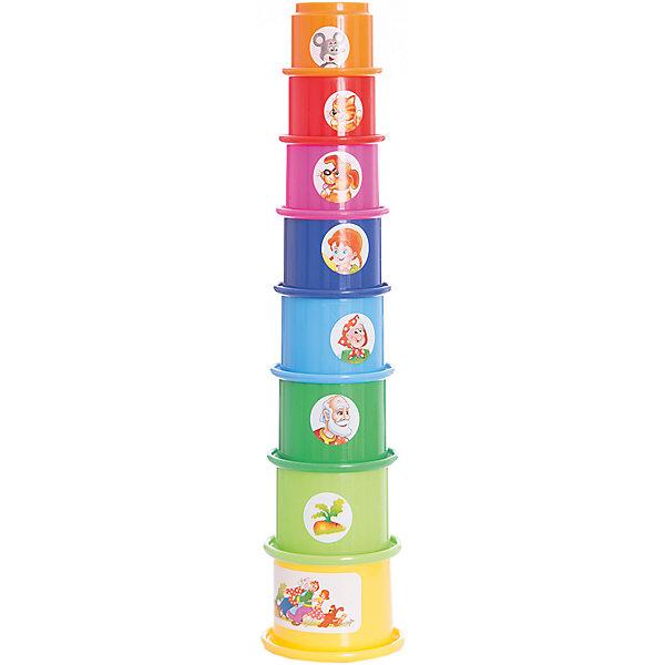 Стеллар Пирамидка РепкаРазвивающие игрушки<br>Стеллар Пирамидка Репка<br><br>Характеристики:<br><br>• Возраст: от 12 месяцев<br>• Материал: Полипропилен<br>• Высота в собранном виде: 32 см<br>• Элементов: 8<br><br>С такой необычной пирамидкой ребенок сможет играть в разнообразные игры. Она состоит из восьми стаканчиков разных размеров и цветов. Ее можно собирать, вставляя стаканчики друг в друга или собирая пирамидку стандартным способом. Кроме этого каждая формочка может быть использована для игр в песочнице или в воде. На каждом стаканчике есть рисунок, изображающий героя популярной сказки – репка.<br><br>Стеллар Пирамидка Репка можно купить в нашем интернет-магазине.<br>Ширина мм: 170; Глубина мм: 170; Высота мм: 220; Вес г: 112; Возраст от месяцев: 6; Возраст до месяцев: 1188; Пол: Унисекс; Возраст: Детский; SKU: 2407098;