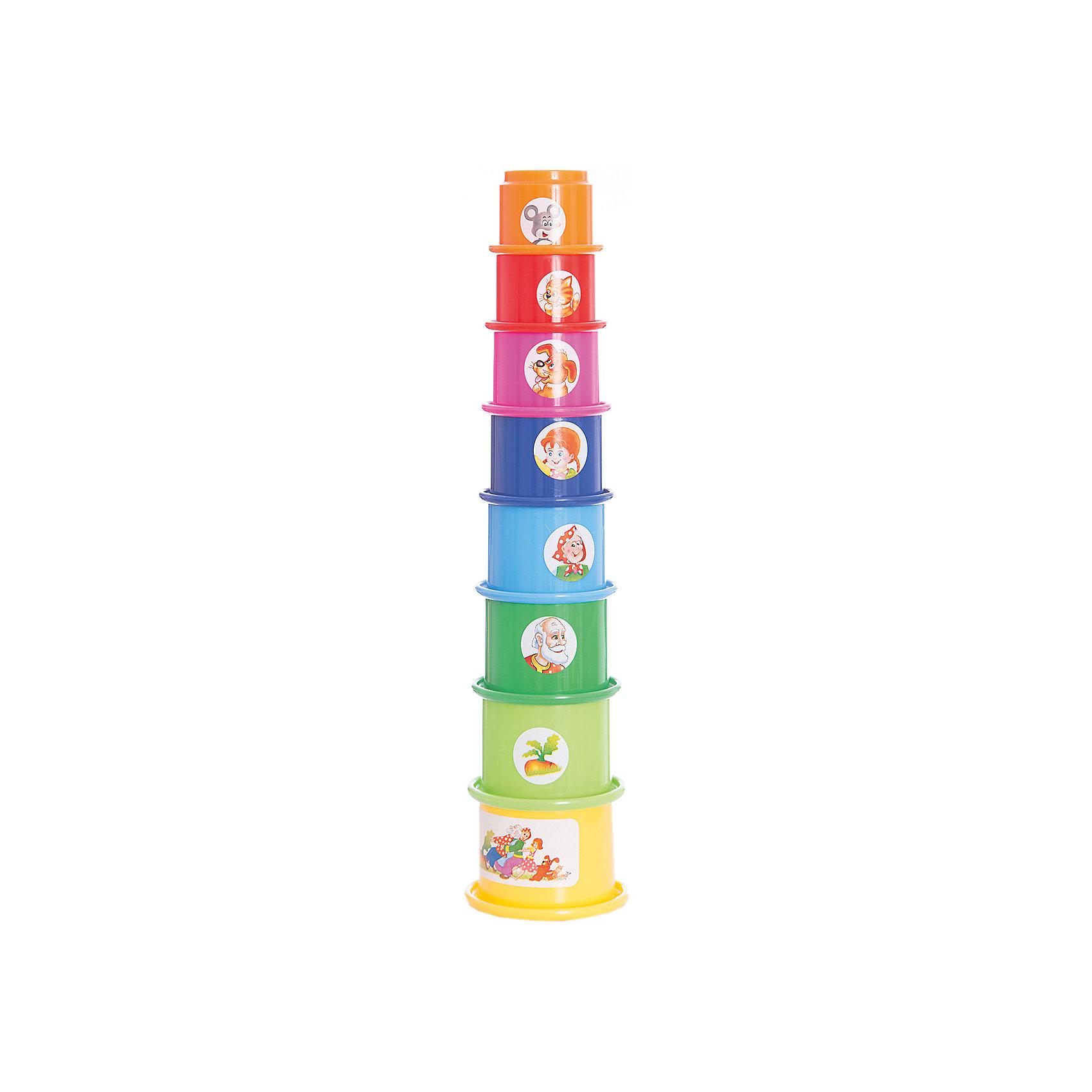 Стеллар Пирамидка РепкаПирамидки<br>Стеллар Пирамидка Репка<br><br>Характеристики:<br><br>• Возраст: от 12 месяцев<br>• Материал: Полипропилен<br>• Высота в собранном виде: 32 см<br>• Элементов: 8<br><br>С такой необычной пирамидкой ребенок сможет играть в разнообразные игры. Она состоит из восьми стаканчиков разных размеров и цветов. Ее можно собирать, вставляя стаканчики друг в друга или собирая пирамидку стандартным способом. Кроме этого каждая формочка может быть использована для игр в песочнице или в воде. На каждом стаканчике есть рисунок, изображающий героя популярной сказки – репка.<br><br>Стеллар Пирамидка Репка можно купить в нашем интернет-магазине.<br><br>Ширина мм: 170<br>Глубина мм: 170<br>Высота мм: 220<br>Вес г: 112<br>Возраст от месяцев: 6<br>Возраст до месяцев: 1188<br>Пол: Унисекс<br>Возраст: Детский<br>SKU: 2407098