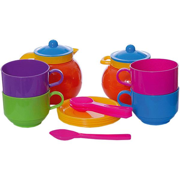 Стеллар Детская посуда Чайный наборДетские кухни<br>Детская посуда Чайный набор от Стеллар (Stellar).<br> <br>Набор из 4-х чашек с блюдцами, 4-х ложек, кувшина и сахарницы. Чашки крупные и прочные. Упаковка - сумка ПВХ.<br><br>Пузатые молочник и сахарница имеют диаметр до 10 см. Высота чашек 5,5 см, диаметр 7 см.<br><br>С «Чайным набором» Стеллар, выполненным из прочного и безопасного пластика, дети могут устроить настоящее чаепитие, поиграть в ресторан или накормить все игрушки  вкусным «обедом».<br><br>Дополнительная информация:<br><br>- В комплекте: 4 чашки с блюдцами, 4 ложки, кувшин, сахарница.<br>- Материал: полипропилен <br>- Размер упаковки: 200 х 200 х 100 мм<br>- Вес: 275 г.<br><br>Детскую посуду Чайный набор от Стеллар (Stellar). можно купить в нашем интернет-магазине.<br>Ширина мм: 200; Глубина мм: 200; Высота мм: 100; Вес г: 275; Возраст от месяцев: 36; Возраст до месяцев: 1188; Пол: Женский; Возраст: Детский; SKU: 2407105;