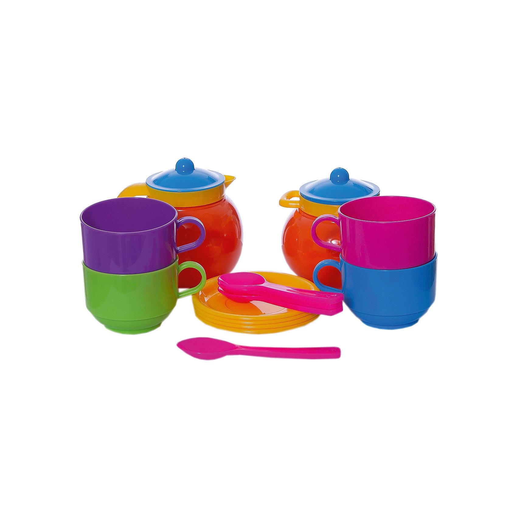 Стеллар Детская посуда Чайный наборДетская посуда Чайный набор от Стеллар (Stellar).<br> <br>Набор из 4-х чашек с блюдцами, 4-х ложек, кувшина и сахарницы. Чашки крупные и прочные. Упаковка - сумка ПВХ.<br><br>Пузатые молочник и сахарница имеют диаметр до 10 см. Высота чашек 5,5 см, диаметр 7 см.<br><br>С «Чайным набором» Стеллар, выполненным из прочного и безопасного пластика, дети могут устроить настоящее чаепитие, поиграть в ресторан или накормить все игрушки  вкусным «обедом».<br><br>Дополнительная информация:<br><br>- В комплекте: 4 чашки с блюдцами, 4 ложки, кувшин, сахарница.<br>- Материал: полипропилен <br>- Размер упаковки: 200 х 200 х 100 мм<br>- Вес: 275 г.<br><br>Детскую посуду Чайный набор от Стеллар (Stellar). можно купить в нашем интернет-магазине.<br><br>Ширина мм: 200<br>Глубина мм: 200<br>Высота мм: 100<br>Вес г: 275<br>Возраст от месяцев: 36<br>Возраст до месяцев: 1188<br>Пол: Женский<br>Возраст: Детский<br>SKU: 2407105