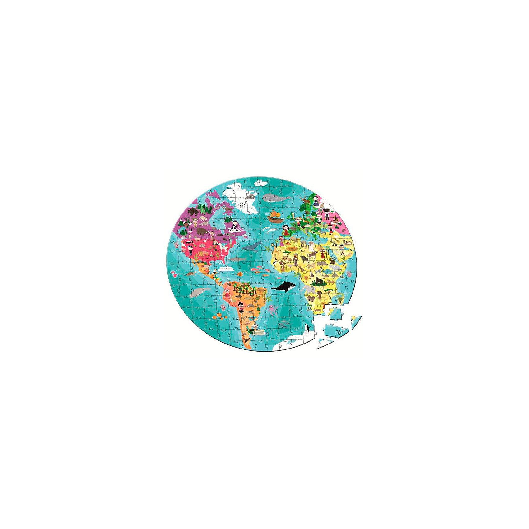 Janod Пазл двухсторонний в круглом чемоданчике Наша планета, 208 деталей, Janod janod пазл я мама 4 в 1