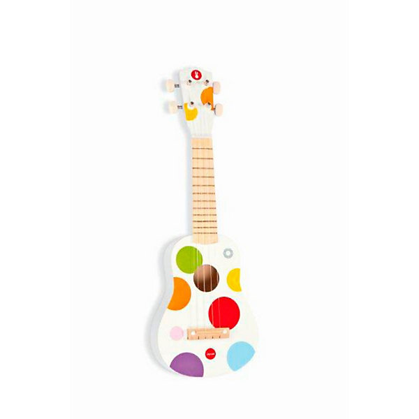 Гавайская гитара из дерева, белая, JanodГитары<br>Развивать музыкальные способности можно с детства! Эта небольшая гитара очень удобна - ее можно брать с собой в дорогу, благодаря продуманной форме хранится она очень компактно. Игра на музыкальных инструментах развивает также мелкую моторику и художественный вкус. Такая гитара надолго занимает детей и помогает увлекательно провести время!<br>Гитара выглядит как настоящая - с настоящими струнами и колками. Она разработана опытными специалистами, сделана из высококачественных материалов, безопасных для детей.<br><br>Дополнительная информация:<br><br>материал: дерево, краски на водной основе;<br>размер: 53,5 х 17,5 х 5 см;<br>цвет: разноцветный.<br><br>Гавайскую гитару от компании Janod можно купить в нашем магазине.<br><br>Ширина мм: 563<br>Глубина мм: 208<br>Высота мм: 73<br>Вес г: 635<br>Возраст от месяцев: 36<br>Возраст до месяцев: 55<br>Пол: Унисекс<br>Возраст: Детский<br>SKU: 2410289