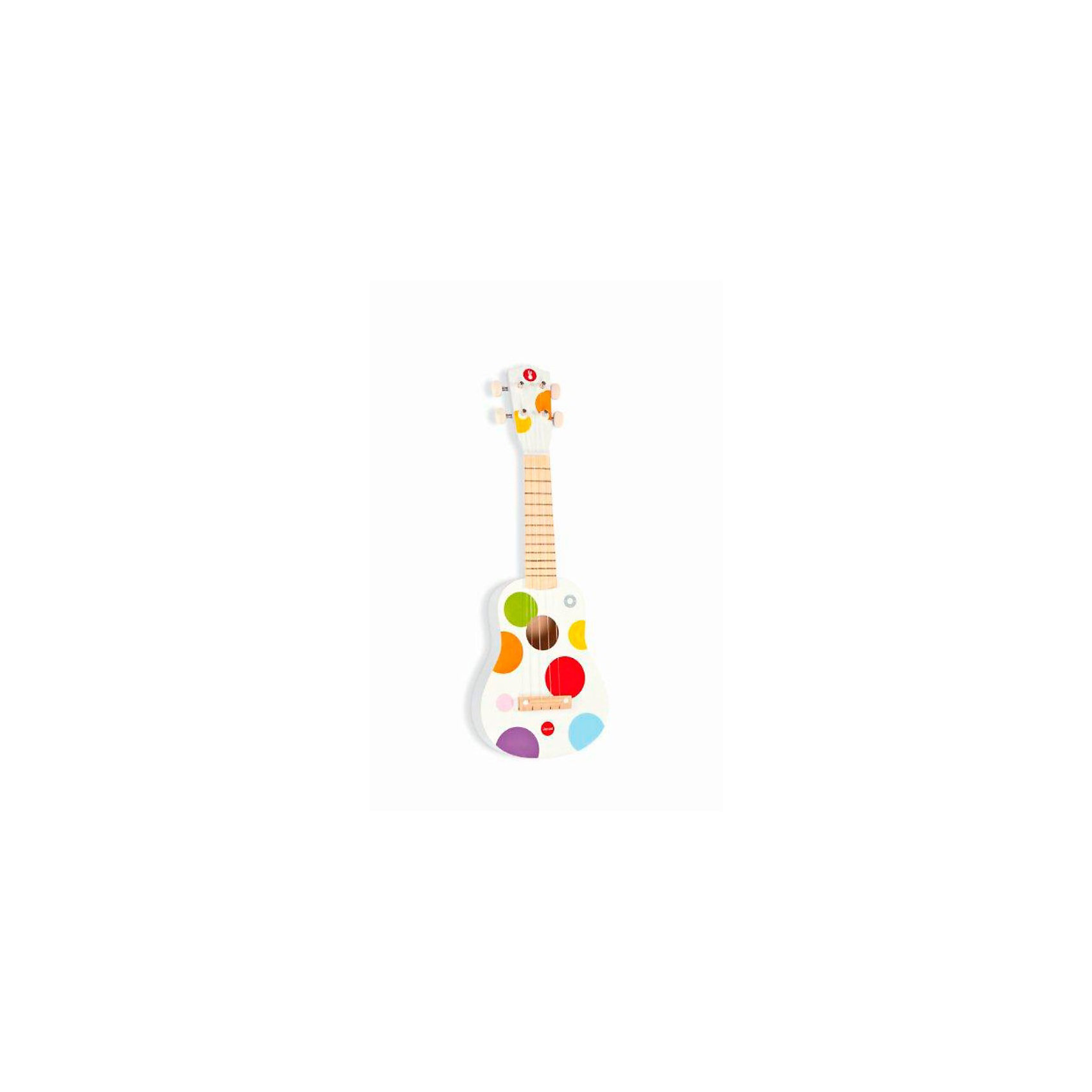 Гавайская гитара из дерева, белая, JanodДетские музыкальные инструменты<br>Развивать музыкальные способности можно с детства! Эта небольшая гитара очень удобна - ее можно брать с собой в дорогу, благодаря продуманной форме хранится она очень компактно. Игра на музыкальных инструментах развивает также мелкую моторику и художественный вкус. Такая гитара надолго занимает детей и помогает увлекательно провести время!<br>Гитара выглядит как настоящая - с настоящими струнами и колками. Она разработана опытными специалистами, сделана из высококачественных материалов, безопасных для детей.<br><br>Дополнительная информация:<br><br>материал: дерево, краски на водной основе;<br>размер: 53,5 х 17,5 х 5 см;<br>цвет: разноцветный.<br><br>Гавайскую гитару от компании Janod можно купить в нашем магазине.<br><br>Ширина мм: 563<br>Глубина мм: 208<br>Высота мм: 73<br>Вес г: 635<br>Возраст от месяцев: 36<br>Возраст до месяцев: 55<br>Пол: Унисекс<br>Возраст: Детский<br>SKU: 2410289
