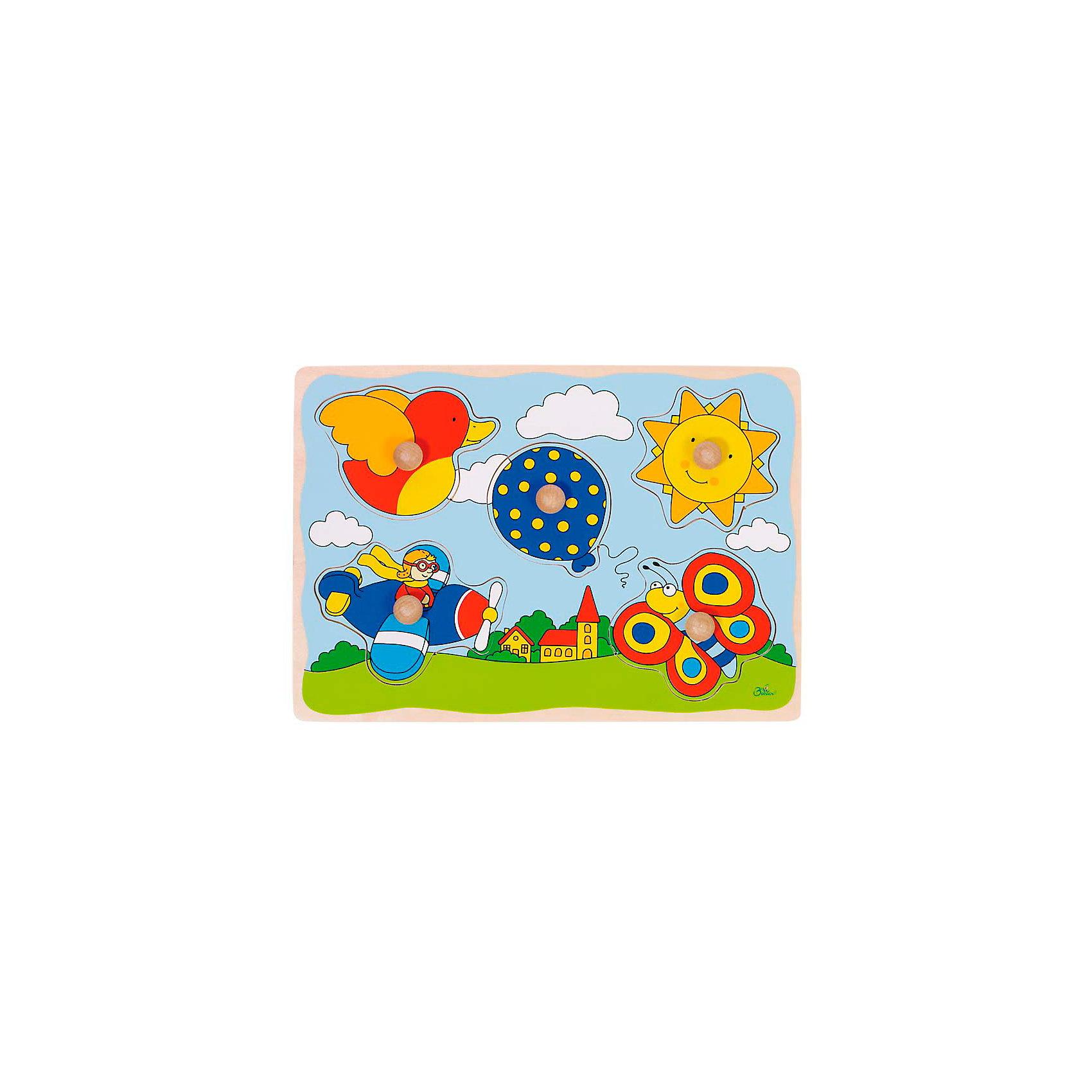 Пазл с держателями В небе, gokiСамый первый пазл малыша с удобными держателями-вкладышами. Четкие знакомые фигуры, яркие цвета и безопасные водные краски-вот преимущества этого пазла.<br><br>В пазле находится 5 фигур: воздушный шарик, солнышко, бабочка, утка, самолетик.<br><br>Дополнительная информация:<br><br>- Материалы: дерево<br>- Размер: 30 х 21 см<br><br>Рамки-вкладыши В небе, goki (гоки) можно купить в нашем магазине.<br><br>Ширина мм: 300<br>Глубина мм: 210<br>Высота мм: 20<br>Вес г: 312<br>Возраст от месяцев: 24<br>Возраст до месяцев: 48<br>Пол: Унисекс<br>Возраст: Детский<br>SKU: 2411586