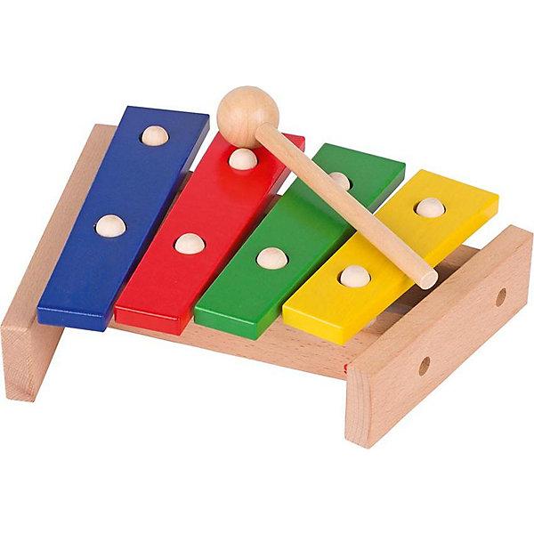 Ксилофон 4 ноты, gokiДетские музыкальные инструменты<br>Ксилофон 4 ноты, goki (Гоки)<br><br>Характеристики:<br><br>• яркие цвета клавиш<br>• удобная ручка молоточка<br>• количество клавиш: 4<br>• материал: дерево<br>• размер: 22,5 см<br><br>Все малыши любят громкие звуки, особенно если эти звуки издает их игрушка. Ксилофон от бренда Goki понравится вашей крохе, ведь он яркий и способен издавать четкие и громкие звуки. Ксилофон имеет 4 разноцветные клавиши с разным звучанием и удобный деревянный молоточек с круглым кончиком. Стуча по клавишам, ребенок будет развивать музыкальное восприятие и слух. Порадуйте своего малыша ярким и звонким музыкальным инструментом!<br><br>Ксилофон 4 ноты, goki (Гоки)вы можете купить в нашем интернет-магазине.<br><br>Ширина мм: 225<br>Глубина мм: 200<br>Высота мм: 60<br>Вес г: 9999<br>Возраст от месяцев: 12<br>Возраст до месяцев: 1164<br>Пол: Унисекс<br>Возраст: Детский<br>SKU: 2411599