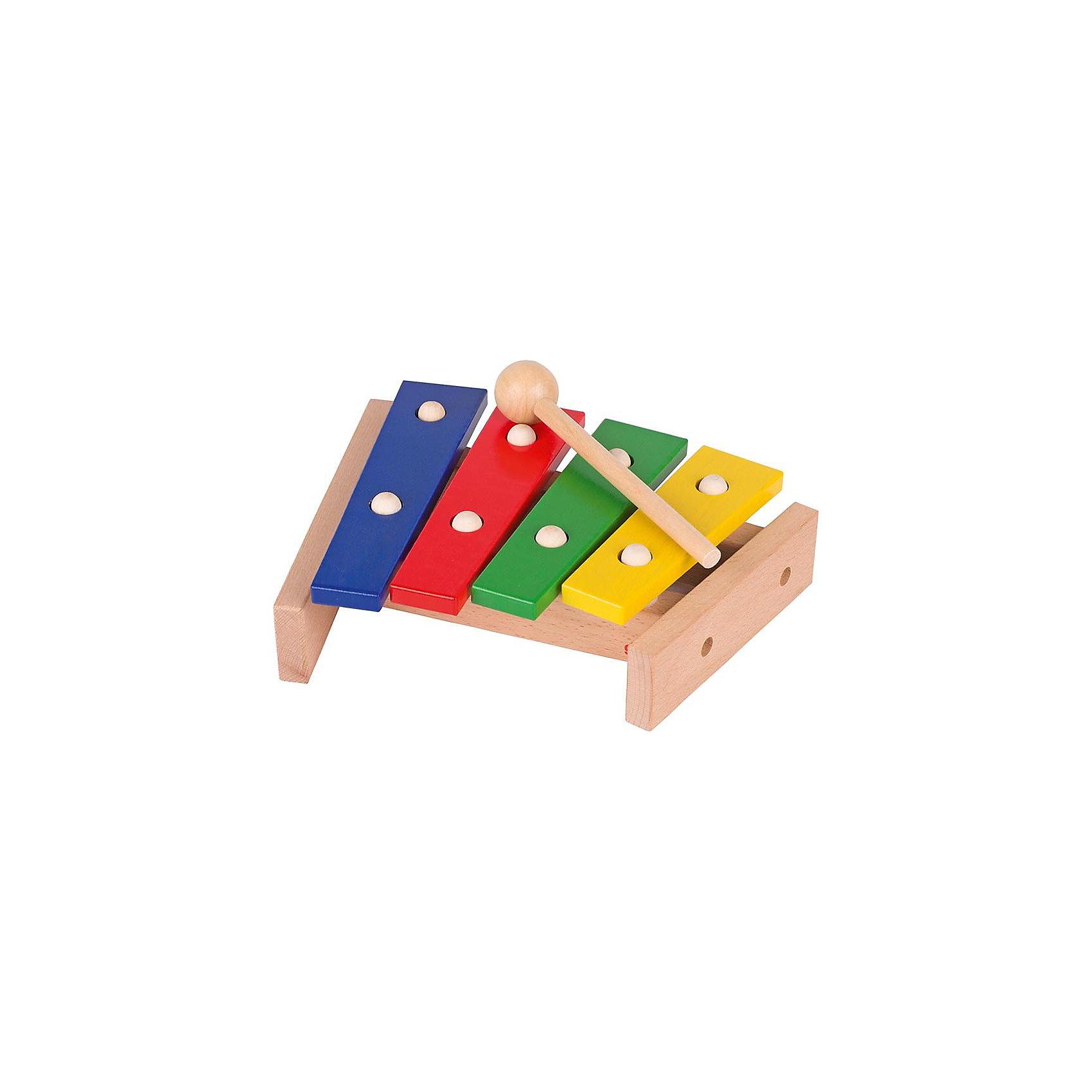Ксилофон 4 ноты, gokiКсилофон 4 ноты, goki (Гоки)<br><br>Характеристики:<br><br>• яркие цвета клавиш<br>• удобная ручка молоточка<br>• количество клавиш: 4<br>• материал: дерево<br>• размер: 22,5 см<br><br>Все малыши любят громкие звуки, особенно если эти звуки издает их игрушка. Ксилофон от бренда Goki понравится вашей крохе, ведь он яркий и способен издавать четкие и громкие звуки. Ксилофон имеет 4 разноцветные клавиши с разным звучанием и удобный деревянный молоточек с круглым кончиком. Стуча по клавишам, ребенок будет развивать музыкальное восприятие и слух. Порадуйте своего малыша ярким и звонким музыкальным инструментом!<br><br>Ксилофон 4 ноты, goki (Гоки)вы можете купить в нашем интернет-магазине.<br><br>Ширина мм: 225<br>Глубина мм: 200<br>Высота мм: 60<br>Вес г: 9999<br>Возраст от месяцев: 12<br>Возраст до месяцев: 1164<br>Пол: Унисекс<br>Возраст: Детский<br>SKU: 2411599