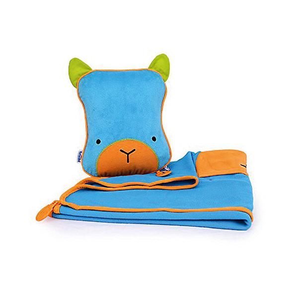 TRUNKI Подушка с пледом, голубаяДорожные сумки и чемоданы<br>Удивительно полезный дорожный набор должен быть у каждого маленького путешественника! Подушку с пледом внутри легко и просто можно брать с собой в самолет, поезд или машину. Ваш малыш теперь будет с комфортом спать в дороге, положив головку на мягкую надувную подушку и укрывшись одеялом. <br>Подушка выполнена в виде забавной голубой рожицы. На пледе есть специальный кармашек, куда можно посадить свою любимую игрушку, чтобы она тоже поспала. Имеется уникальный «замочек», с помощью которого крепится угол одеяла к подушке, чтобы плед не свалился в момент сна. В это время родители смогут также отдохнуть и расслабиться в полной тишине.  <br>Размер подушки: 26 х 21 см. <br>Размер пледа: 70 х 90 см.<br>Ширина мм: 271; Глубина мм: 208; Высота мм: 71; Вес г: 267; Возраст от месяцев: 72; Возраст до месяцев: 84; Пол: Унисекс; Возраст: Детский; SKU: 2412571;