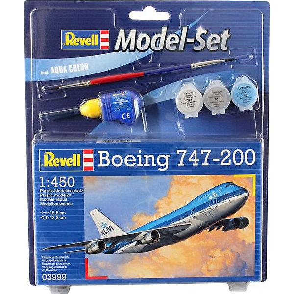 """Набор Самолет Боинг 747-200Самолёты и вертолёты<br>Характеристики товара:<br><br>• возраст: от 10 лет;<br>• масштаб: 1:450;<br>• количество деталей: 22 шт;<br>• материал: пластик; <br>• клей и краски в комплект не входят;<br>• длина модели: 15,8 см;<br>• размах крыльев: 13,3 см;<br>• бренд, страна бренда: Revell (Ревел), Германия;<br>• страна-изготовитель: Польша.<br><br>Набор для сборки «Самолет Боинг 747-200» поможет вам и вашему ребенку придумать увлекательное занятие на долгое время и весело провести свой досуг. <br><br>Боинг 747-200, Прозванный """"Джамбо Джет"""" - лайнер стал первым двухпалубным широкофюзеляжным самолетом. На момент своего создания в 1969 году Боинг 747 был самым вместительным пассажирским авиалайнером в мире. Сейчас это самый распространенный в мире самолет своего класса.<br><br>Данная сборная модель военного самолета состоит из 22 деталей и относится к третьему уровню сложности сборки из пяти существующих. В комплект набора также включены необходимые для осуществления сборки клей, кисточка и краски 3-ех цветов. В упаковку вложена подробная инструкция.<br><br>Процесс сборки развивает интеллектуальные и инструментальные способности, воображение и конструктивное мышление, а также прививает практические навыки работы со схемами и чертежами. <br><br>Набор для сборки «Самолет Боинг 747-200», 22 дет., Revell (Ревел) можно купить в нашем интернет-магазине.<br>Ширина мм: 270; Глубина мм: 230; Высота мм: 33; Вес г: 870; Возраст от месяцев: 96; Возраст до месяцев: 1188; Пол: Мужской; Возраст: Детский; SKU: 2412664;"""