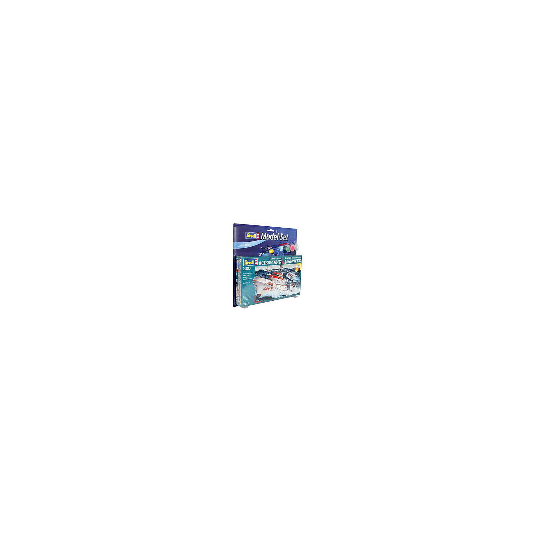 Катер спасательный Hermann Marwede, RevellСборные модели транспорта<br>Катер спасательный Hermann Marwede, Revell (Ревелл) – эта максимально детализированная модель станет украшением комнаты и дополнением коллекции.<br>Сборная модель спасательного катера Hermann Marwede немецкой организации DGzRS позволит вам и вашему ребенку собрать уменьшенную копию самого большого в истории Германии спасательного судна. С момента своего образования в 1865 году, члены спасательной службы DGzRS помогли более 76 000 людям, попавшим в опасные ситуации. Модель состоит из 78 деталей, которые необходимо собрать, склеить и покрыть краской в соответствии с инструкцией. В наборе также прилагаются клей в удобной упаковке, краски и кисточка. Модель тщательно проработана. Разработанная для детей от 10 лет, сборная модель спасательного катера Hermann Marwede, определённо, принесёт массу положительных эмоций и взрослым любителям моделирования. Моделирование считается одним из наиболее полезных хобби, ведь оно развивает интеллектуальные и инструментальные способности, воображение и конструктивное мышление. Прививает практические навыки работы со схемами и чертежами.<br><br>Дополнительная информация:<br><br>- Возраст: для детей старше 10-и лет<br>- В наборе: комплект пластиковых деталей для сборки модели, базовые акриловые краски, клей, кисточка, инструкция<br>- Количество деталей: 78 шт.<br>- Масштаб модели: 1:200<br>- Длина модели: 230 мм.<br>- Уровень сложности: 3 (из 5)<br>- Дополнительно потребуются: кусачки, для того чтобы отделить детали с литников<br>- Краски из набора можно разбавлять обычной водой или фирменным растворителем Revell (Ревелл)<br><br>Модель Катера спасательного Hermann Marwede, Revell (Ревелл) можно купить в нашем интернет-магазине.<br><br>Ширина мм: 330<br>Глубина мм: 315<br>Высота мм: 50<br>Вес г: 800<br>Возраст от месяцев: 96<br>Возраст до месяцев: 1188<br>Пол: Мужской<br>Возраст: Детский<br>SKU: 2412670