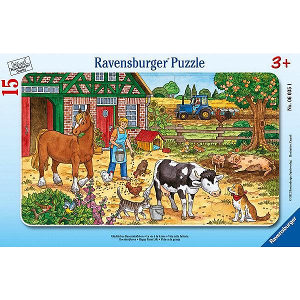 Пазл Жизнь на ферме, 15 деталей, RavensburgerПазлы для малышей<br>Пазл Жизнь на ферме, 15 деталей, Ravensburger (Равенсбургер) – это отличная развивающая игра-головоломка для детей.<br>Красочный пазл Жизнь на ферме от немецкого производителя Ravensburger (Равенсбургер) состоит из 15 крупных деталей, изготовленных из качественного экологичного материала. На картинке изображен солнечный день на ферме, где заботливая хозяйка вышла во двор, чтобы покормить животных и птиц. Разглядывая картинку, ребенок познакомиться с животными, которых можно встретить на ферме: с лошадкой, коровой, курами, цыплятами, свиньями, а также такими любимцами, как кошка и собака (они являются надежными помощниками фермера). Процесс сборки пазла не только увлечет ребенка, но поможет развить мелкую моторику рук, наблюдательность, логическое мышление, усидчивость, терпение, аккуратность, внимание и познакомит с окружающим миром. Пазлы Ravensburger (Равенсбургер) - это высочайшее качество картона и полиграфии. Детали пазла не ломаются, не подвергаются деформации при сборке. Элементы пазла идеально соединяются друг с другом, не отслаиваются с течением времени. Матовая поверхность исключает отблески.<br><br>Дополнительная информация:<br><br>- Количество деталей: 15<br>- Размер готовой картинки: 25х14,5 см.<br>- Материал: прочный, качественный картон<br>- Размер упаковки: 29,5х19х1 см.<br><br>Пазл Жизнь на ферме, 15 деталей, Ravensburger (Равенсбургер) можно купить в нашем интернет-магазине.<br><br>Ширина мм: 297<br>Глубина мм: 187<br>Высота мм: 5<br>Вес г: 152<br>Возраст от месяцев: 36<br>Возраст до месяцев: 60<br>Пол: Унисекс<br>Возраст: Детский<br>Количество деталей: 15<br>SKU: 2414711