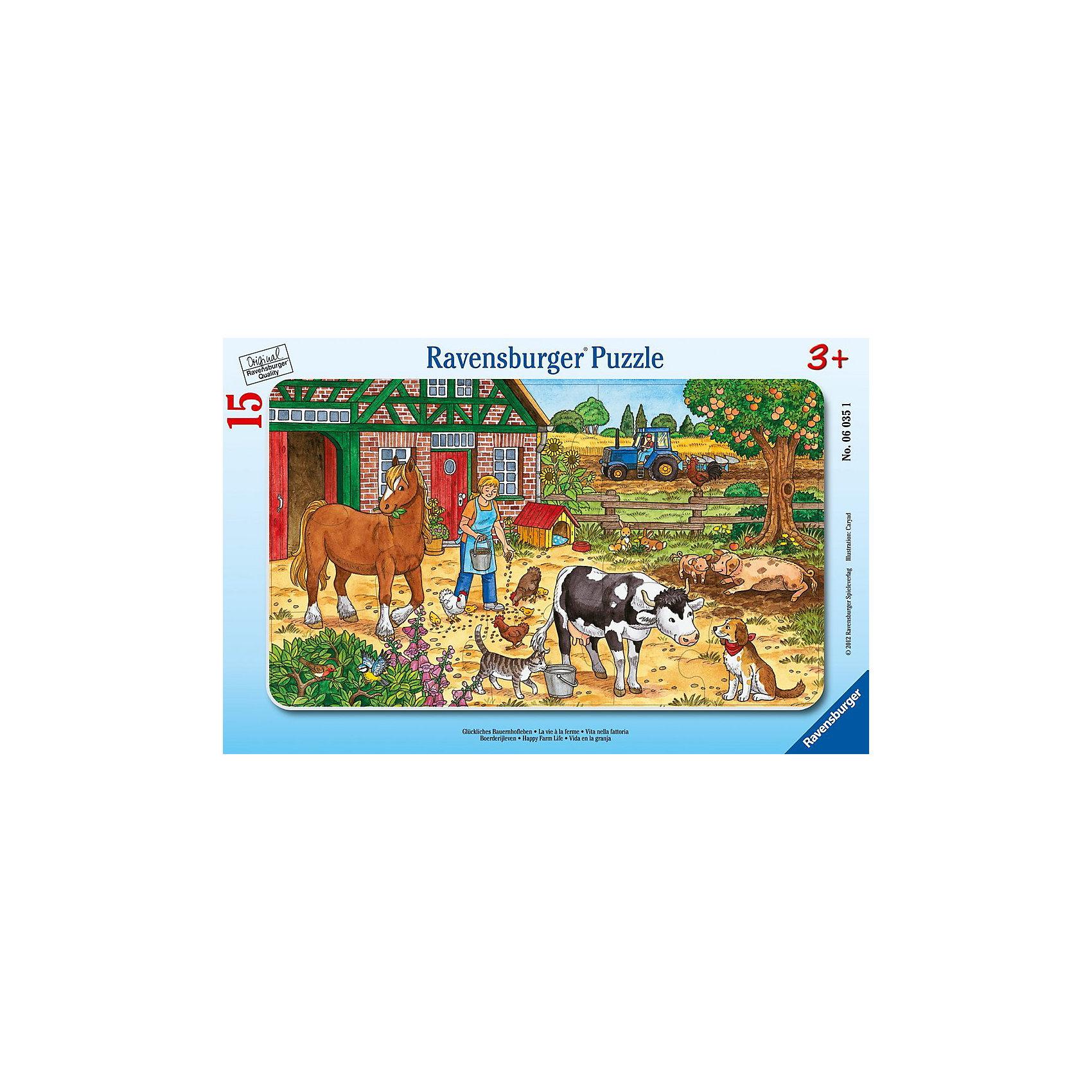 Пазл Жизнь на ферме, 15 деталей, RavensburgerПазл Жизнь на ферме, 15 деталей, Ravensburger (Равенсбургер) – это отличная развивающая игра-головоломка для детей.<br>Красочный пазл Жизнь на ферме от немецкого производителя Ravensburger (Равенсбургер) состоит из 15 крупных деталей, изготовленных из качественного экологичного материала. На картинке изображен солнечный день на ферме, где заботливая хозяйка вышла во двор, чтобы покормить животных и птиц. Разглядывая картинку, ребенок познакомиться с животными, которых можно встретить на ферме: с лошадкой, коровой, курами, цыплятами, свиньями, а также такими любимцами, как кошка и собака (они являются надежными помощниками фермера). Процесс сборки пазла не только увлечет ребенка, но поможет развить мелкую моторику рук, наблюдательность, логическое мышление, усидчивость, терпение, аккуратность, внимание и познакомит с окружающим миром. Пазлы Ravensburger (Равенсбургер) - это высочайшее качество картона и полиграфии. Детали пазла не ломаются, не подвергаются деформации при сборке. Элементы пазла идеально соединяются друг с другом, не отслаиваются с течением времени. Матовая поверхность исключает отблески.<br><br>Дополнительная информация:<br><br>- Количество деталей: 15<br>- Размер готовой картинки: 25х14,5 см.<br>- Материал: прочный, качественный картон<br>- Размер упаковки: 29,5х19х1 см.<br><br>Пазл Жизнь на ферме, 15 деталей, Ravensburger (Равенсбургер) можно купить в нашем интернет-магазине.<br><br>Ширина мм: 298<br>Глубина мм: 187<br>Высота мм: 8<br>Вес г: 153<br>Возраст от месяцев: 36<br>Возраст до месяцев: 60<br>Пол: Унисекс<br>Возраст: Детский<br>Количество деталей: 15<br>SKU: 2414711