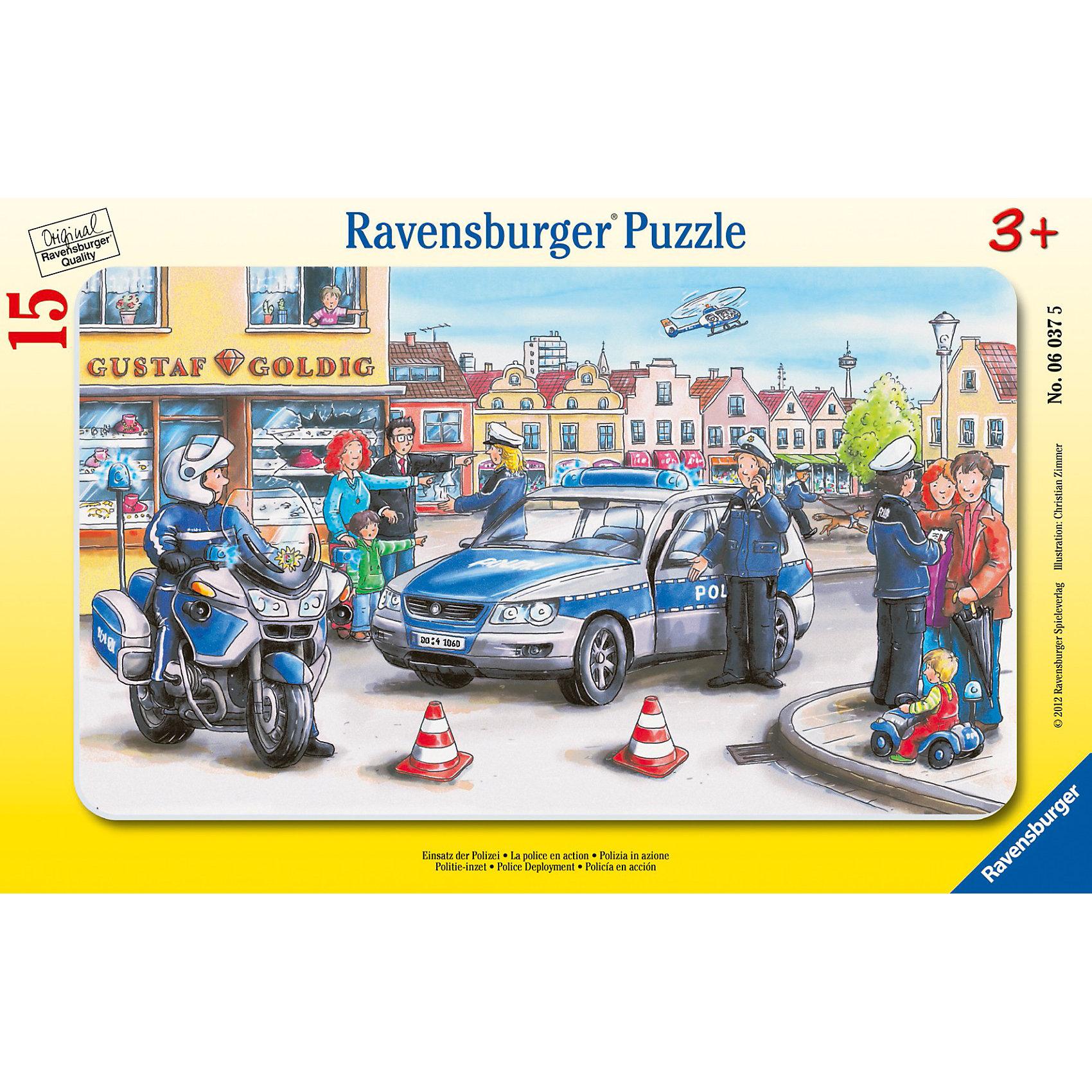 Пазл Полицейские Ravensburger, 15 деталейСобирать пазл «Полицейские» от Ravensburger (Равенсбургер) - это увлекательное занятие для ребенка. В городе произошло правонарушение! Жители стараются помочь отважным стражам порядка выяснить, кто преступник. Следи за развитием истории, собирая пазл! На картинке много забавных персонажей, поэтому ее так интересно рассматривать. Картинка получается настолько яркой и привлекательной, что ее можно использовать, как украшение комнаты, стоит только наклеить пазл на картон. Вас порадует, что плотный картон, из которого состоит пазл не мнется во время сборки, яркая картинка защищена от расслаивания, благодаря чему такой пазл способен служить долгое время. Пазл Полицейские от Ravensburger (Равенсбургер) - это полезное и увлекательное занятие для всей семьи!<br> <br>Дополнительная информация:<br><br>- Чудесный пазл для начинающих;<br>- Крупные детали;<br>- Развивает моторику и внимание;<br>- Интересный сюжет;<br>- Очень качественные элементы не расслаиваются;<br>- Материал: картон;<br>- Размер пазла в собранном виде: 25 х 14,5 см;<br>- Размер упаковки: 19 х 29,5 х 4 см;<br>- Вес: 148 г<br><br>Пазл Полицейские 15 деталей, Ravensburger (Равенсбургер) можно купить в нашем интернет-магазине.<br><br>Ширина мм: 298<br>Глубина мм: 192<br>Высота мм: 7<br>Вес г: 160<br>Возраст от месяцев: 36<br>Возраст до месяцев: 60<br>Пол: Мужской<br>Возраст: Детский<br>Количество деталей: 16<br>SKU: 2414712