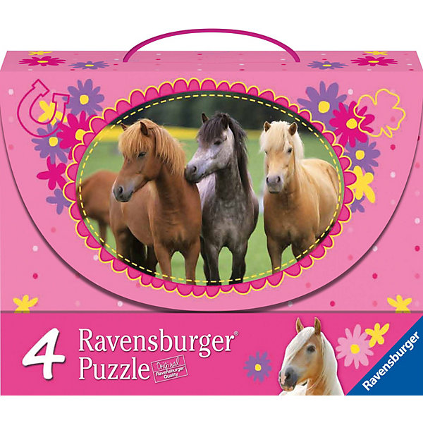 Набор пазлов «Красивые лошади» 2х64 и 2х81 деталей, RavensburgerПазлы до 100 деталей<br>Из деталей Набора пазлов «Красивые лошади» 2х64 и 2х81 деталей, Ravensburger (Равенсбургер) Вы и Ваш ребенок соберете 4 ярких изображения лошадей и жеребят на лоне природы. Все детали пазлов надежно скрепляются между собой, чтобы после завершения сборки пазлы могли стать прекрасным украшением интерьера. <br><br>Характеристики:<br>-Элементы идеально соединяются друг с другом, не отслаиваются с течением времени<br>-Высочайшее качество картона и полиграфии <br>-Матовая поверхность исключает отблески<br>-Развивает: память, мышление, внимательность, усидчивость, мелкая моторика, восприятие форм и цветов<br>-Занимательное времяпрепровождение для всей семьи<br>-Для сохранения в собранном виде можно использовать скотч или специальный клей для пазлов (в комплект не входит)<br><br>Дополнительная информация:<br>-Материал: плотный картон, бумага<br>-Размер каждого собранного пазла: 23х23 см<br>-Размер упаковки: 23х29х8 см <br>-Вес упаковки: 0,7 кг<br><br>Для детей собирание пазлов – это интересная и полезная игра, а для взрослых — прекрасная возможность провести время вместе со своими детьми!<br><br>Набор пазлов «Красивые лошади» 2х64 и 2х81 деталей, Ravensburger (Равенсбургер) можно купить в нашем магазине.<br>Ширина мм: 300; Глубина мм: 230; Высота мм: 86; Вес г: 468; Возраст от месяцев: 60; Возраст до месяцев: 108; Пол: Женский; Возраст: Детский; Количество деталей: 64; SKU: 2414729;