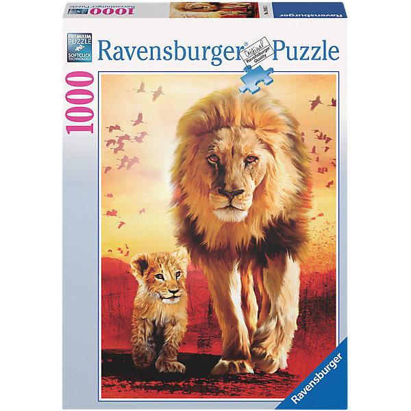 Пазл «Первые шаги» 1000  деталей, RavensburgerПазлы классические<br>Соединив элементы Пазла «Первые шаги» 1000  деталей, Ravensburger (Равенсбургер), Вы получите красивую картинку с изображением львов. Маленький львенок вместе с отцом делает свои первые шаги по африканской саванне, светит жаркое солнце, земля раскалена докрасна, а на заднем плане кружат птицы. Эту прекрасную картину можно проклеить, повесить в раму и украсить ею любой интерьер.  <br><br>Характеристики:<br>-Элементы идеально соединяются друг с другом, не отслаиваются с течением времени<br>-Высочайшее качество картона и полиграфии <br>-Матовая поверхность исключает отблески<br>-Развивает: память, мышление, усидчивость, мелкая моторика, наблюдательность, воображение, общий уровень интеллекта, цветовосприятие<br>-Каждая деталь отличается по форме, что упростит сборку <br>-Занимательное времяпрепровождение для всей семьи<br>-Для сохранения в собранном виде можно использовать скотч или специальный клей для пазлов (в комплект не входит)<br><br>Дополнительная информация:<br>-Материалы: картон<br>-Вес в упаковке: 900 г<br>-Размеры в упаковке: 27х37х5,5 см<br>-Размер картинки: 50х70 см<br>-Количество элементов: 1000 шт.<br><br>Чтобы собрать пазл «Первые шаги» понадобится несколько вечеров, но увлекательное занятие без сомнения понравится как детям, так и взрослым ценителям этого хобби!<br><br>Пазл «Первые шаги» 1000  деталей, Ravensburger (Равенсбургер) можно купить в нашем магазине.<br>Ширина мм: 378; Глубина мм: 274; Высота мм: 60; Вес г: 838; Возраст от месяцев: 144; Возраст до месяцев: 228; Пол: Унисекс; Возраст: Детский; Количество деталей: 1000; SKU: 2414785;