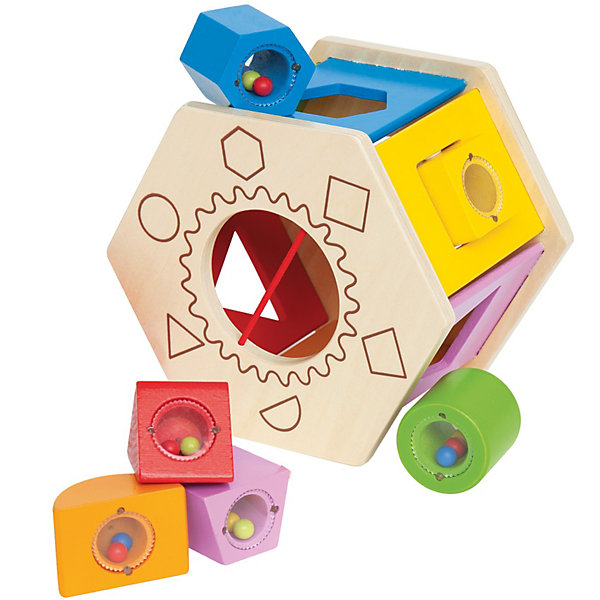 Игрушка деревянная Сортер, HapeДеревянные игрушки<br>Игрушка деревянная Сортер, Hape (Хейп).<br><br>Характеристики:<br><br>- Комплектация: сортер, 6 разноцветных фигурок с бусинками внутри (полукруг, круг, трапеция, шестигранник, квадрат, треугольник)<br>- Размер игрушки: 17х15,2х11,9 см.<br>- Материал: древесина<br>- Размер упаковки: 18х15,5х12,5 см<br>- Вес: 1 кг.<br><br>Замечательный сортер, сделанный из древесины, создан специально для всестороннего развития малышей. Сортер выполнен в виде шестигранника с различными геометрическими отверстиями, в которые нужно вставлять небольшие разноцветные фигурки, заполненные бусинками. Игрушку можно перекатывать с места на место. А когда малыш закончит играть, то фигурные блоки можно собрать в сортер, через большое отверстие. Сортер и детали имеют округлые формы. Яркая краска, которой покрыто изделие, абсолютно безопасна для ребенка. Игра с таким сортером развлечет малыша и принесет много положительных эмоций. Правильно подбирая фигурки и вставляя их в отверстия, малыш разовьет моторику, логическое мышление, ловкость и координацию. Также ребенок познакомится с цветами, различными формами и поймет причинно-следственные связи.<br><br>Игрушку деревянную Сортер, Hape (Хейп) можно купить в нашем интернет-магазине.<br><br>Ширина мм: 155<br>Глубина мм: 125<br>Высота мм: 180<br>Вес г: 667<br>Возраст от месяцев: 12<br>Возраст до месяцев: 36<br>Пол: Унисекс<br>Возраст: Детский<br>SKU: 2416647