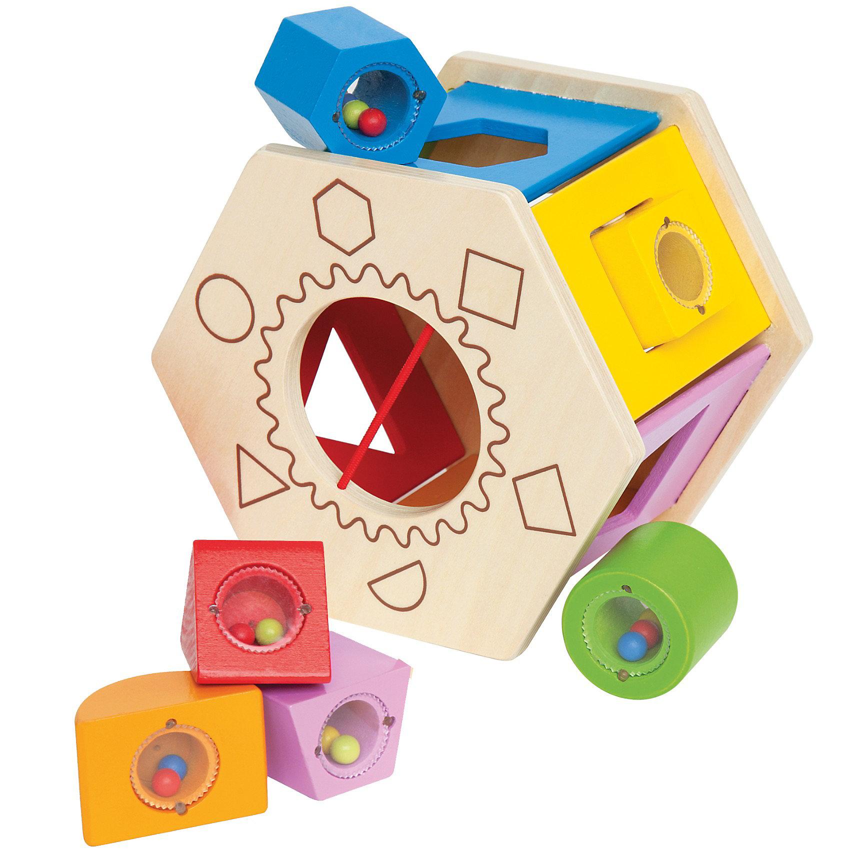 Игрушка деревянная Сортер, HapeИгрушка деревянная Сортер, Hape (Хейп).<br><br>Характеристики:<br><br>- Комплектация: сортер, 6 разноцветных фигурок с бусинками внутри (полукруг, круг, трапеция, шестигранник, квадрат, треугольник)<br>- Размер игрушки: 17х15,2х11,9 см.<br>- Материал: древесина<br>- Размер упаковки: 18х15,5х12,5 см<br>- Вес: 1 кг.<br><br>Замечательный сортер, сделанный из древесины, создан специально для всестороннего развития малышей. Сортер выполнен в виде шестигранника с различными геометрическими отверстиями, в которые нужно вставлять небольшие разноцветные фигурки, заполненные бусинками. Игрушку можно перекатывать с места на место. А когда малыш закончит играть, то фигурные блоки можно собрать в сортер, через большое отверстие. Сортер и детали имеют округлые формы. Яркая краска, которой покрыто изделие, абсолютно безопасна для ребенка. Игра с таким сортером развлечет малыша и принесет много положительных эмоций. Правильно подбирая фигурки и вставляя их в отверстия, малыш разовьет моторику, логическое мышление, ловкость и координацию. Также ребенок познакомится с цветами, различными формами и поймет причинно-следственные связи.<br><br>Игрушку деревянную Сортер, Hape (Хейп) можно купить в нашем интернет-магазине.<br><br>Ширина мм: 155<br>Глубина мм: 125<br>Высота мм: 180<br>Вес г: 667<br>Возраст от месяцев: 12<br>Возраст до месяцев: 36<br>Пол: Унисекс<br>Возраст: Детский<br>SKU: 2416647
