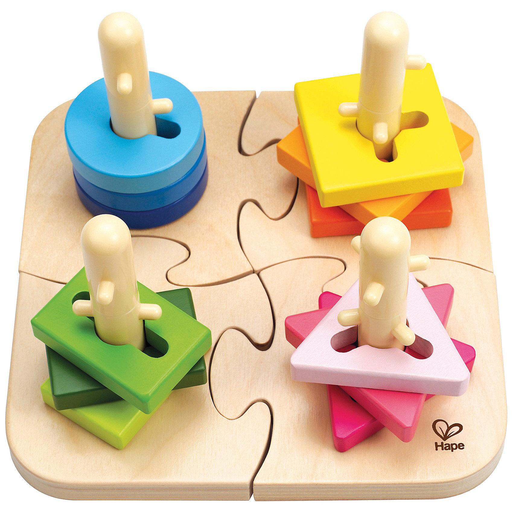 Деревянная пирамидка-сортер Колышки, HapeСортеры<br>Вашему малышу несомненно понравится пазл с разноцветными  колышками, на которые ему предстоит надевать элементы различной формы. Просто надеть элемент на колышек не получится, крохе придется многократно повернуть фигурку, чтобы опустить ее до конца. Само основание также разбирается на 4 составных элемента, что является дополнительной задачей. Пирамидка выполнена из натурального дерева, покрашена нетоксичными, безопасными красками, все детали - гладкие, прекрасно проработаны, не имеют острых углов.  Игрушка развивает логическое и пространственное мышление, координацию, ловкость, моторику.<br><br>Дополнительная информация: <br><br>- Комплектация: разборное основание, колышки ( 4 шт.), фигуры (12шт.)<br>- Размер: 19,7 х 19,7 х 11,6 см<br>- Материал: дерево.<br><br>Деревянную пирамидку Колышки, Hape (Хапе) можно купить в нашем магазине.<br><br>Ширина мм: 252<br>Глубина мм: 213<br>Высота мм: 137<br>Вес г: 760<br>Возраст от месяцев: 18<br>Возраст до месяцев: 36<br>Пол: Унисекс<br>Возраст: Детский<br>SKU: 2416649