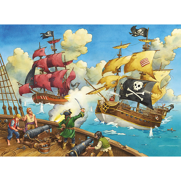 Пазл Битва пиратов Ravensburger, 100 деталейПазлы для малышей<br>Этот красочный пазл Битва пиратов от Ravensburger непременно придется по вкусу маленьким любителям приключений и пиратских сюжетов!<br><br>Огромные корабли, развивающиеся пиратские флаги, пушечные выстрелы и отважные моряки - такой мотив увлекательно и интересно собирать. Кроме того, складывая картинки, Ваш ребенок развивает мелкую моторику рук, логическое и пространственное мышление, память, внимательность, воображение, фантазию и усидчивость. Такой досуг также поможет малышу быстро научиться писать и избежать проблем с почерком.<br><br>Все пазлы немецкой компании Ravensburger славятся высочайшим качеством полиграфии и идеальной стыковкой элементов. Благодаря особому штамповочному оборудованию данный производитель достигает непревзойденного многообразия форм деталей. Стремление к качеству немецкой компании Ravensburger безгранично!<br>Ширина мм: 230; Глубина мм: 340; Высота мм: 40; Вес г: 535; Возраст от месяцев: 72; Возраст до месяцев: 1188; Пол: Мужской; Возраст: Детский; SKU: 2421519;