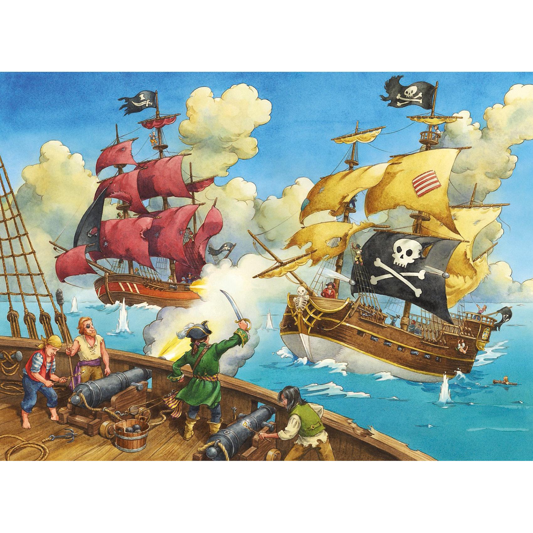Пазл Битва пиратов Ravensburger, 100 деталейКлассические пазлы<br>Этот красочный пазл Битва пиратов от Ravensburger непременно придется по вкусу маленьким любителям приключений и пиратских сюжетов!<br><br>Огромные корабли, развивающиеся пиратские флаги, пушечные выстрелы и отважные моряки - такой мотив увлекательно и интересно собирать. Кроме того, складывая картинки, Ваш ребенок развивает мелкую моторику рук, логическое и пространственное мышление, память, внимательность, воображение, фантазию и усидчивость. Такой досуг также поможет малышу быстро научиться писать и избежать проблем с почерком.<br><br>Все пазлы немецкой компании Ravensburger славятся высочайшим качеством полиграфии и идеальной стыковкой элементов. Благодаря особому штамповочному оборудованию данный производитель достигает непревзойденного многообразия форм деталей. Стремление к качеству немецкой компании Ravensburger безгранично!<br><br>Ширина мм: 230<br>Глубина мм: 340<br>Высота мм: 40<br>Вес г: 535<br>Возраст от месяцев: 72<br>Возраст до месяцев: 1188<br>Пол: Мужской<br>Возраст: Детский<br>SKU: 2421519