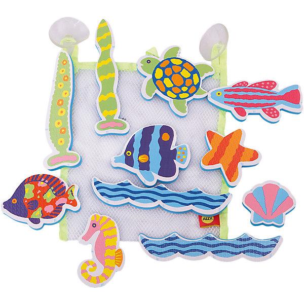 Набор стикеров для ванной Пляж, AlexИгрушки для ванной<br>Набор фигурок- стикеров для ванной Пляж. В наборе фигурки в виде морских обитателей. Фигурки сделаны из легкого и экологичного материала - вспененного пластика, который крепится к влажной стенке ванны и кафелю.  Упакованы в  сумку-сетку на присосках.<br><br>Ширина мм: 252<br>Глубина мм: 203<br>Высота мм: 53<br>Вес г: 121<br>Возраст от месяцев: 36<br>Возраст до месяцев: 60<br>Пол: Унисекс<br>Возраст: Детский<br>SKU: 2422314