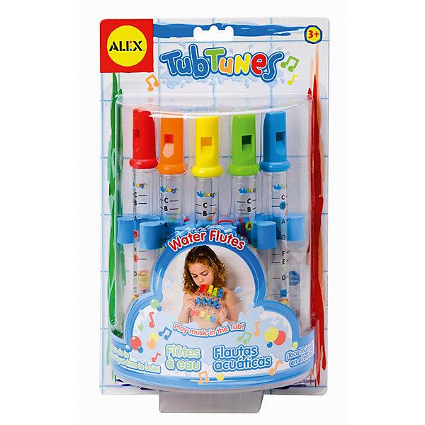 ALEX Игрушка для ванной Водяные флейтыИгрушки для ванной<br>Игрушка для ванны Водяные флейты от ALEX (Алекс)  превратит обыкновенное купание в зрелищное представление или чудесную игру, направленную на развитие творческих способностей ребенка. <br>Музыкальная игрушка для ванной Водяные флейты, форма которой идеально подходит для хватания маленькими ручками, проста в применении. Наливая внутрь пластмассового инструмента воду, ребенок услышит звуки различные по тональности. Эти звуки можно будет сложить в чудные мелодии, следуя указаниям нот на листах. В зависимости от количества воды, налитой внутрь инструмента, меняется тон звучания.<br>При игре на флейте происходит развитие музыкального слуха карапуза, логического мышления, памяти.<br>В комплекте  непромокаемые цветные ноты и простая инструкция.<br><br>Дополнительная информация:<br>- Материал: пластик<br>- Размеры упаковки: 31,2х7,62х19,1 см<br>- Вес: 280 г.<br><br>Игрушка для ванной Водяные флейты станет отличным подарком для Вашего ребенка.<br><br>ALEX Игрушку для ванной Водяные флейты можно купить в нашем интернет-магазине.<br><br>Ширина мм: 312<br>Глубина мм: 187<br>Высота мм: 73<br>Вес г: 246<br>Возраст от месяцев: 36<br>Возраст до месяцев: 60<br>Пол: Унисекс<br>Возраст: Детский<br>SKU: 2422333
