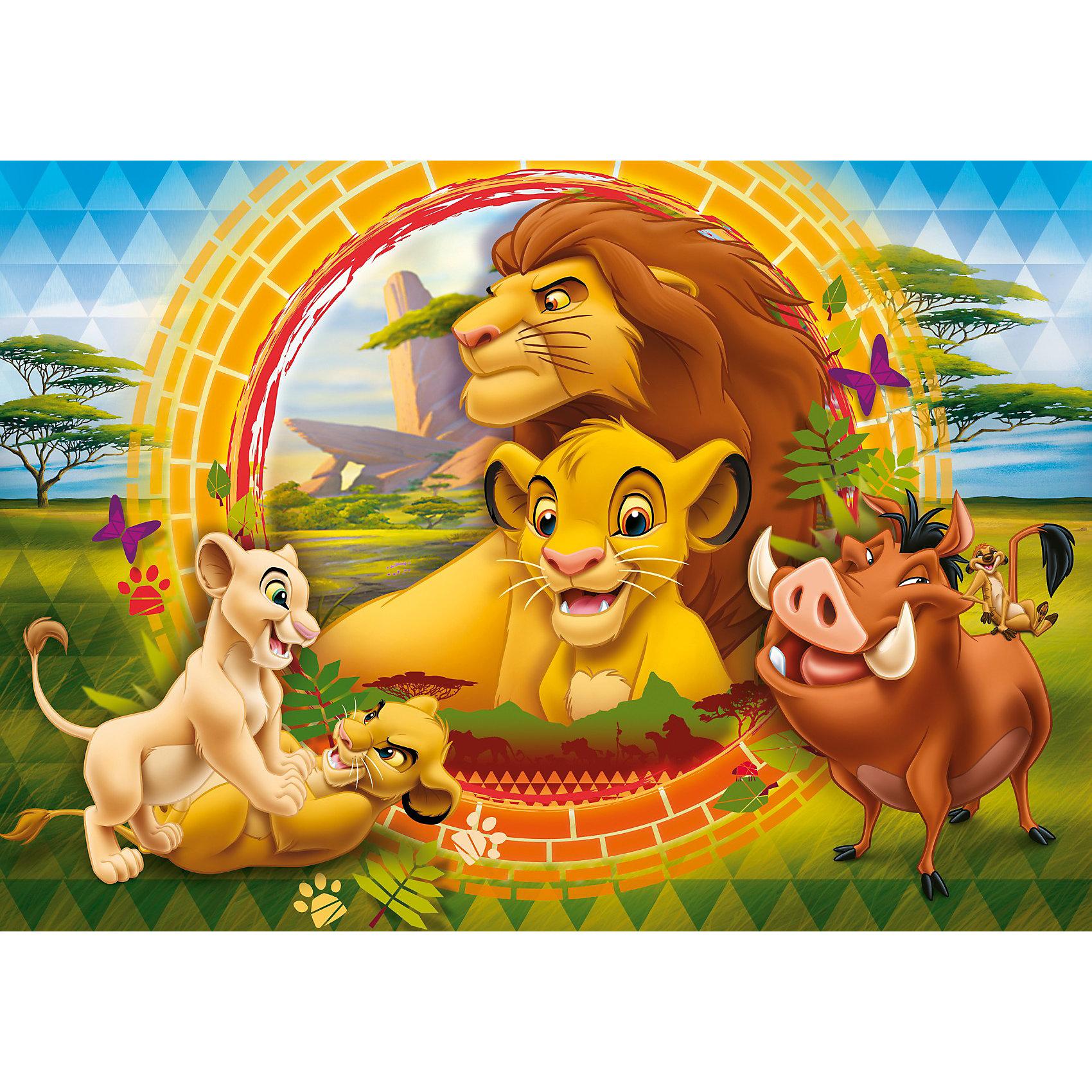 Пазл Король Лев, 24 детали,  ДиснейПазл Король Лев Дисней (Disney) - увлекательный набор для творчества, который будет интересен детям всех возрастов и даже их родителям. С помощью входящих в набор деталей Вы сможете собрать красочную картинку с изображением персонажей из популярного диснеевского мультфильма Король Лев (The Lion King). Пазл изготовлен из прочного картона высокого качества, изображение напечатано на бумаге, не отражающей свет, благодаря чему отчетливо видны все детали картины. Составные элементы пазла отлично соединяются между собой, при этом соединения практически незаметны.<br> <br>Собирание пазла способствует развитию логического мышления, внимания, воображения и мелкой моторики рук.<br><br>Дополнительная информация:<br><br>- Материал: картон, бумага.<br>- Размер собранного пазла: 68 х 48 см.<br>- Размер упаковки: 39,5 х 6,5 х 27,5 см. <br><br>Пазл Король Лев можно купить в нашем интернет-магазине.<br><br>Ширина мм: 402<br>Глубина мм: 283<br>Высота мм: 67<br>Вес г: 815<br>Возраст от месяцев: 48<br>Возраст до месяцев: 72<br>Пол: Унисекс<br>Возраст: Детский<br>Количество деталей: 24<br>SKU: 2423989