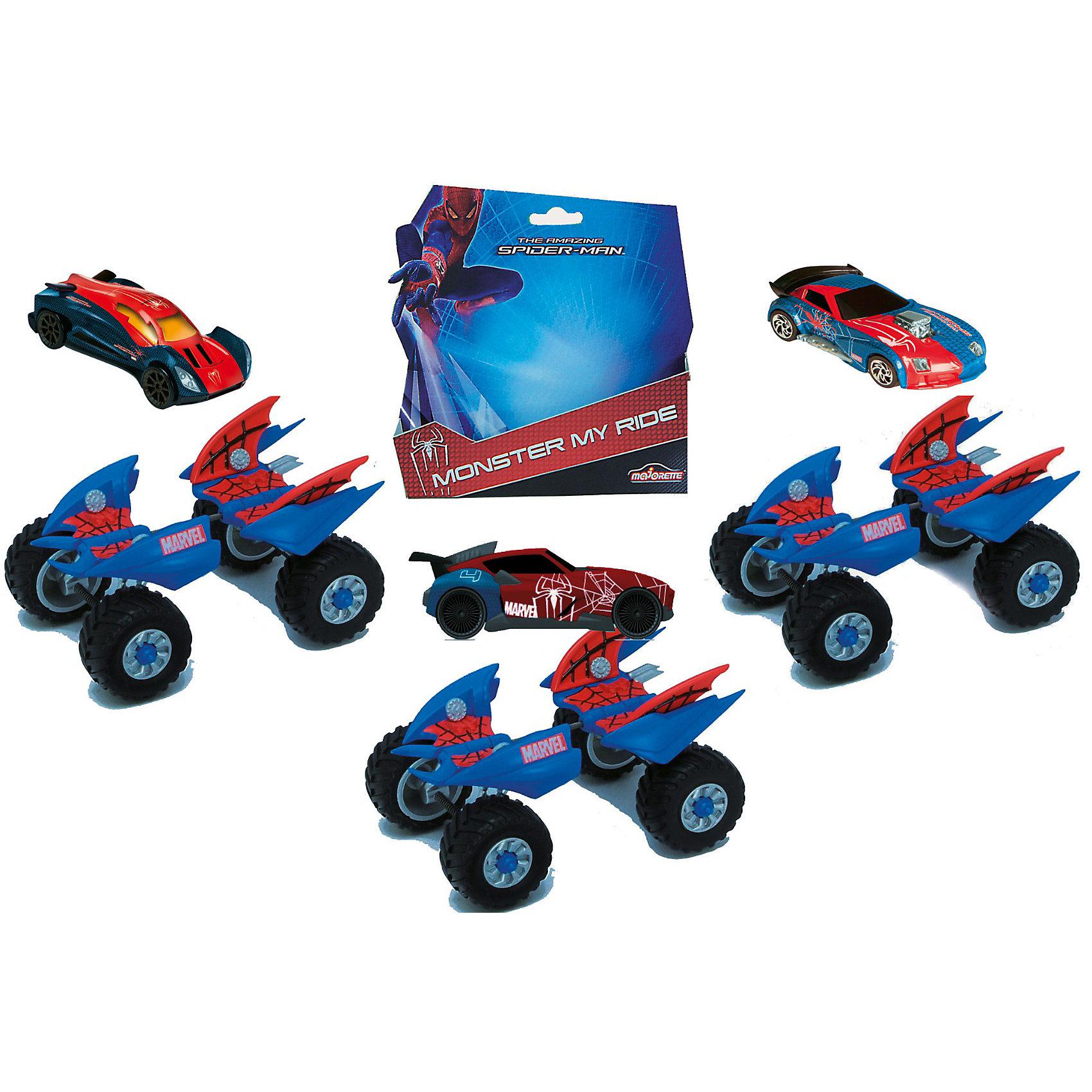 Автомобиль + шасси  1:64, Человек-ПаукАвтомобиль Spider-Man Dickie по мотивам фильма Человек-паук (Spider-Man) станет замечательным подарком для Вашего ребенка, особенно если он поклонник одноименного фильма.<br>В наборе 2 машинки, из которых можно собрать одну, установив маленькую машинку на машинку-платформу с шасси и мощными колесами. Таким образом, ребенок может играть двумя способами: легкая гоночная машинка или мощный внедорожник.<br><br>Дополнительная информация:<br><br>- Материал: металл.<br>- Размер маленькой машины: 7,5 см.<br>- Размер большой машины: 12 см.<br>- Вес: 0,223 кг.<br><br>ВНИМАНИЕ! Данный артикул имеется в наличии в разных цветовых исполнениях. К сожалению, заранее выбрать определенный цвет не возможно.<br><br>Автомобиль Spider-Man Dickie можно купить в нашем интернет-магазине.<br><br>Ширина мм: 175<br>Глубина мм: 97<br>Высота мм: 178<br>Вес г: 223<br>Возраст от месяцев: 36<br>Возраст до месяцев: 1164<br>Пол: Унисекс<br>Возраст: Детский<br>SKU: 2427810