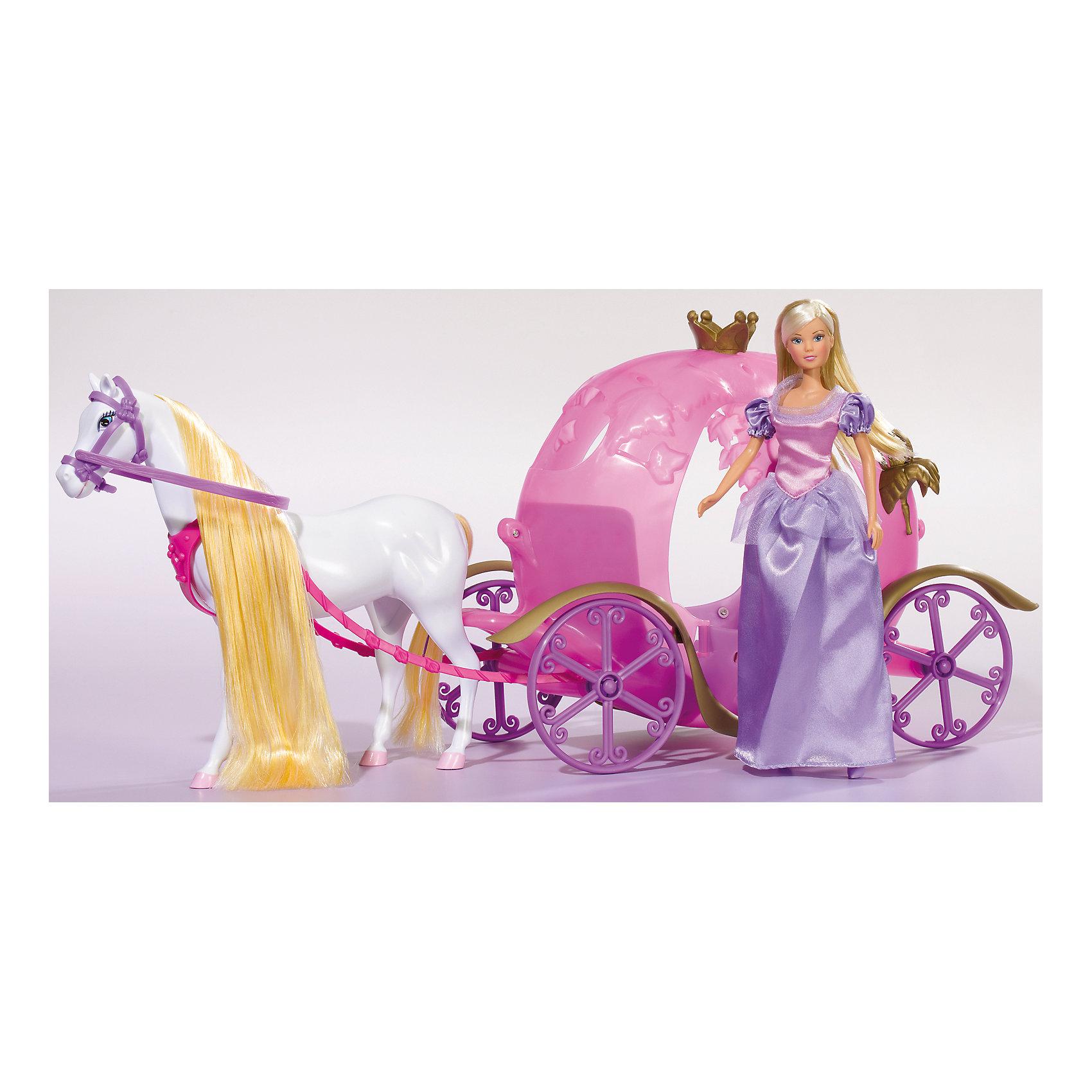 Кукла Штеффи и ее сказочная карета, SimbaSteffi и Evi Love<br>Характеристики товара:<br><br>- цвет: разноцветный;<br>- материал: пластик;<br>- возраст: от трех лет;<br>- комплектация: кукла, аксессуары, карета;<br>- высота куклы: 29 см.<br><br>Эта симпатичная кукла Штеффи от известного бренда не оставит девочку равнодушной! Какая девочка сможет отказаться поиграть с куклами, которые дополнены собственной каретой?! В набор входят аксессуары для игр с куклой. Игрушка очень качественно выполнена, поэтому она станет замечательным подарком ребенку. <br>Продается набор в красивой удобной упаковке. Игры с куклами помогают девочкам развить важные навыки и отработать модели социального взаимодействия. Изделие произведено из высококачественного материала, безопасного для детей.<br><br>Куклу Штеффи и ее сказочная карета от бренда Simba можно купить в нашем интернет-магазине.<br><br>Ширина мм: 200<br>Глубина мм: 600<br>Высота мм: 290<br>Вес г: 1639<br>Возраст от месяцев: 36<br>Возраст до месяцев: 72<br>Пол: Женский<br>Возраст: Детский<br>SKU: 2429675