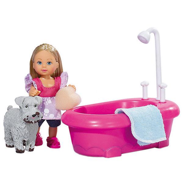 Набор Еви моет собачку, Steffi LoveКуклы<br>Набор «Еви моет собачку», Steffi Love (Штеффи Лав) – маленькая Еви купает свою любимую собачку.<br><br>Собачка девочки Еви испачкалась на прогулке и она решает ее помыть. Еви моет собачку в ванне и все пятна с тела и мордочки собаки действительно исчезают. При нажатии на кран ванна начинает заполняться водой. После купания Еви вытирает своего любимца полотенцем. <br><br>Комплектация:<br>- кукла Еви<br>- собачка<br>- ванночка с душем<br>- махровое полотенце и мочалка в форме сердечка<br><br>Дополнительная информация:<br><br>- Высота куклы: 12 см<br>- Размер упаковки: 22х9х16 см<br>- Вес: 0,289 кг<br>- Материал: высококачественный пластик<br><br>Набор «Еви моет собачку», Steffi Love (Штеффи Лав) станет превосходным подарком для девочки, который развивает воображение, аккуратность и моторику.<br><br>Набор «Еви моет собачку», Steffi Love (Штеффи Лав) можно купить в нашем магазине.<br><br>Ширина мм: 235<br>Глубина мм: 162<br>Высота мм: 96<br>Вес г: 303<br>Возраст от месяцев: 36<br>Возраст до месяцев: 72<br>Пол: Женский<br>Возраст: Детский<br>SKU: 2429680