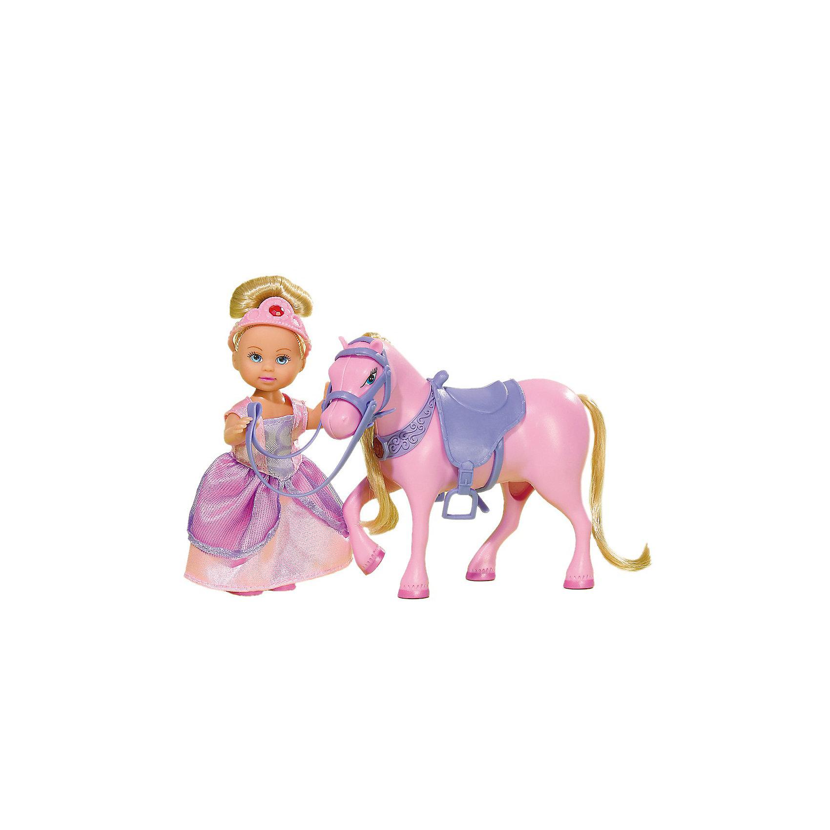 Еви с магической лошадкой, SimbaSteffi и Evi Love<br>В этом красивом наборе Эви (Evi) представлена в образе сказочной принцессы в роскошном розовом наряде. Эви любит гулять вместе со своей волшебной розовой лошадкой. Когда Эви садится на лошадку амулет на её шее начинает светиться.<br><br>Дополнительная информация:<br><br>- Размер игрушки: 12 см.<br>- Размер упаковки: 20х5х16 см.<br>- Вес: 0,184 кг.<br><br>Эта красивая игрушка станет замечательным подарком для Вашей девочки<br><br>Купить куклу можно в нашем магазине<br><br>Ширина мм: 200<br>Глубина мм: 50<br>Высота мм: 160<br>Вес г: 185<br>Возраст от месяцев: 36<br>Возраст до месяцев: 72<br>Пол: Женский<br>Возраст: Детский<br>SKU: 2429681