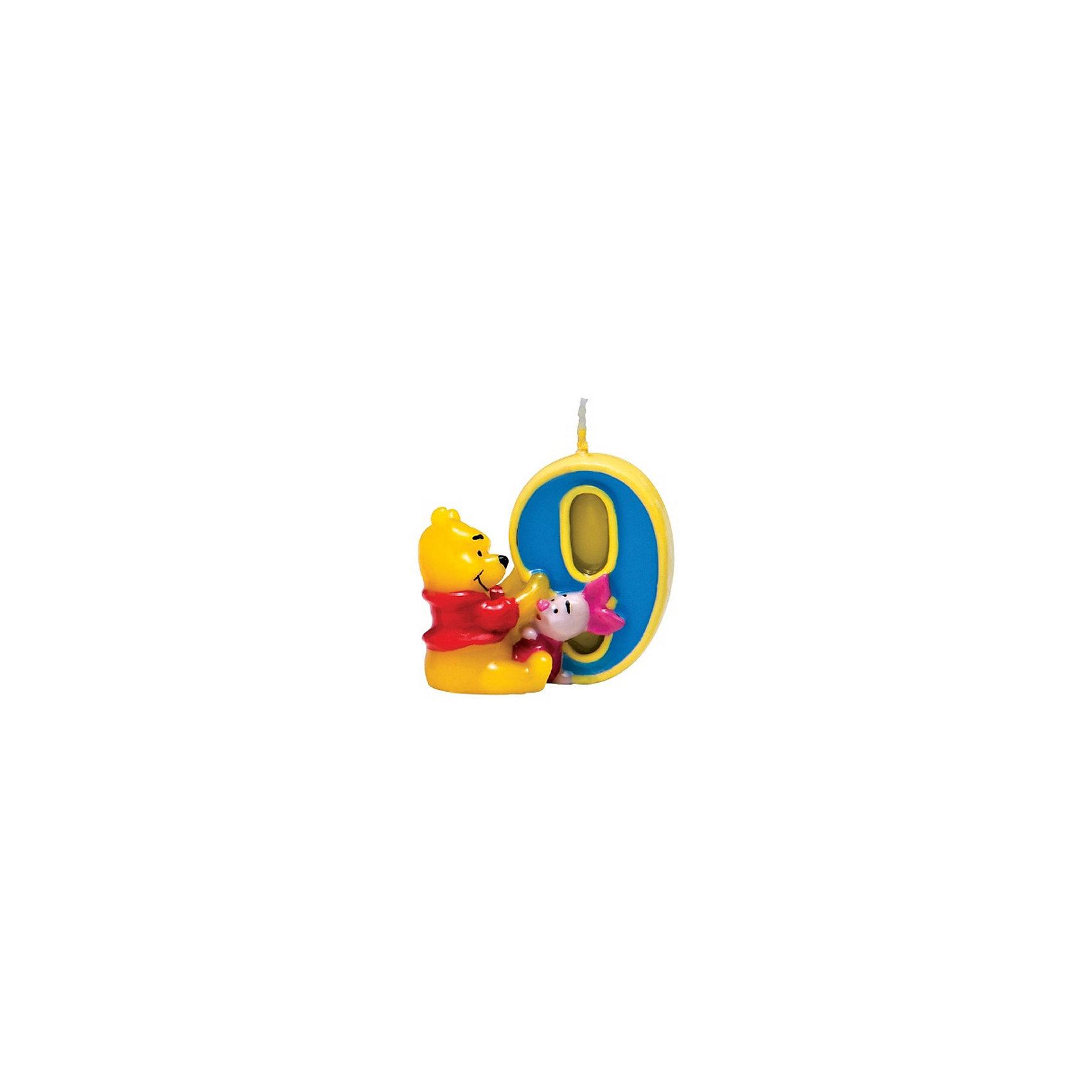 Procos Объемная свечка Винни 9 летDisney Винни Пух<br>Объемная свечка в форме цифры, с изображением любимого героя - используется в оформлениях кондитерских изделий!<br><br>Ширина мм: 85<br>Глубина мм: 35<br>Высота мм: 130<br>Вес г: 33<br>Возраст от месяцев: 36<br>Возраст до месяцев: 168<br>Пол: Унисекс<br>Возраст: Детский<br>SKU: 2431266